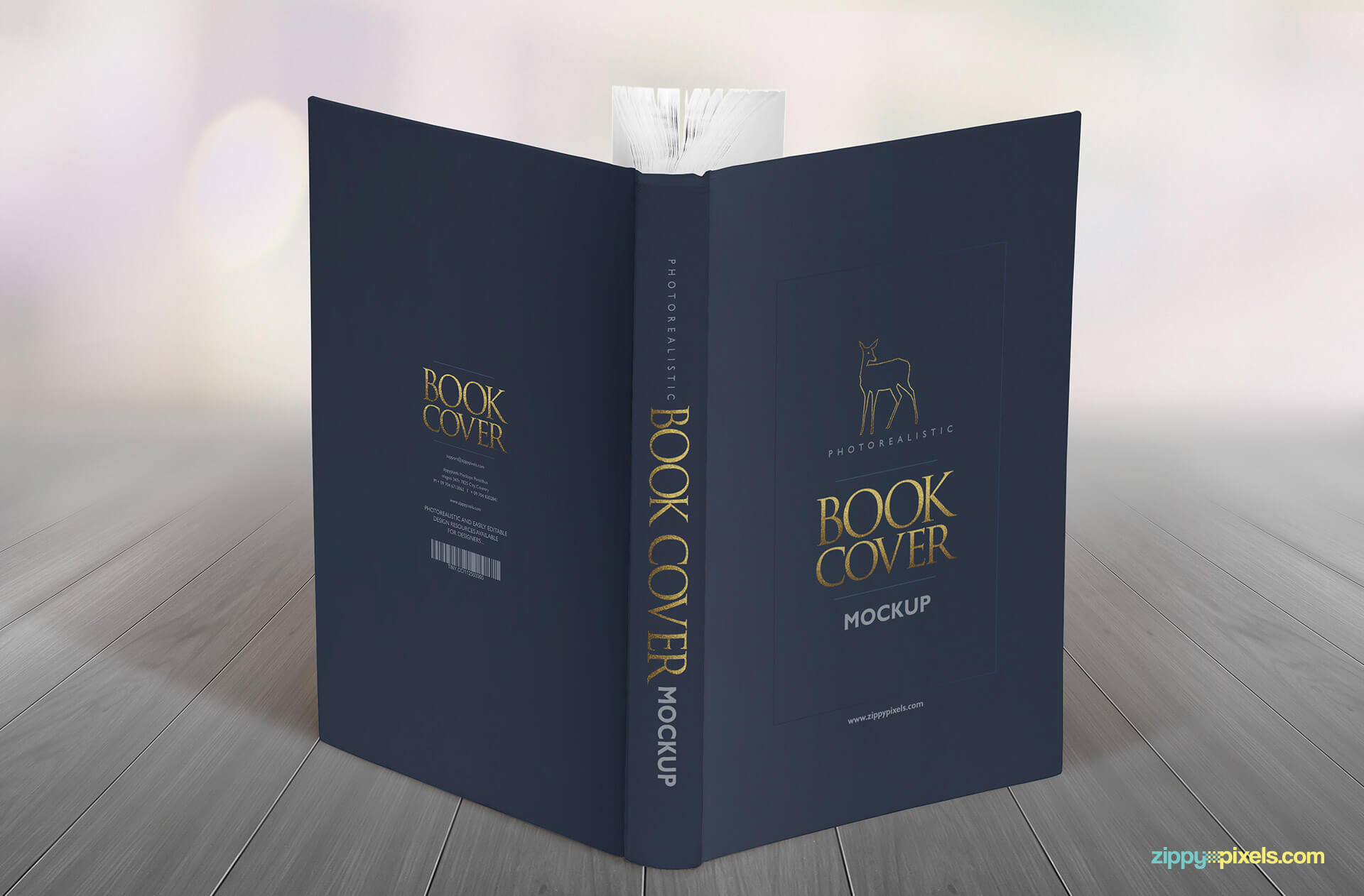 Hardcvoer book mockups for showcasing your full dustcover design