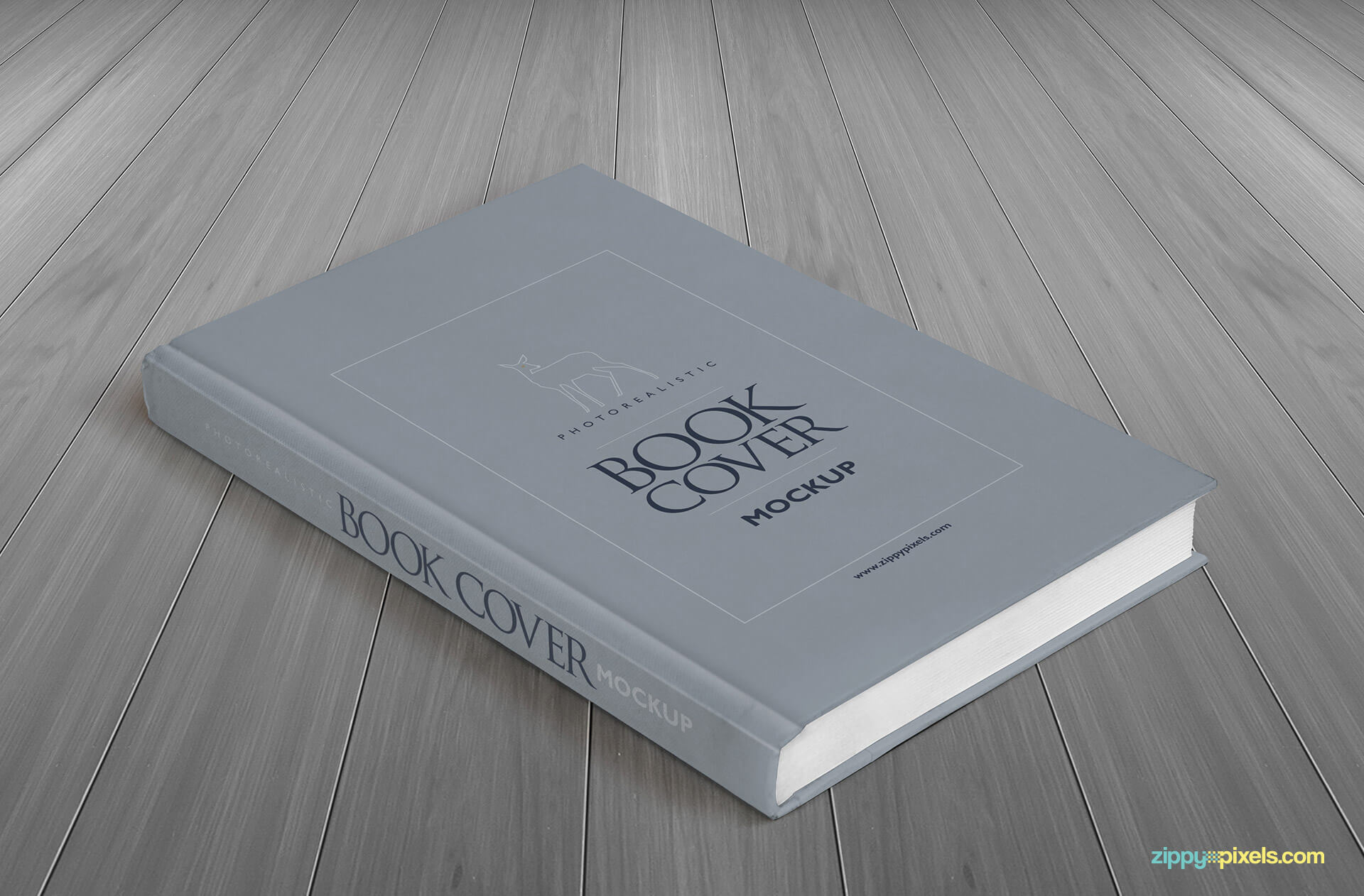 Perpective Hardcover Book Mockup showing front cover & spine