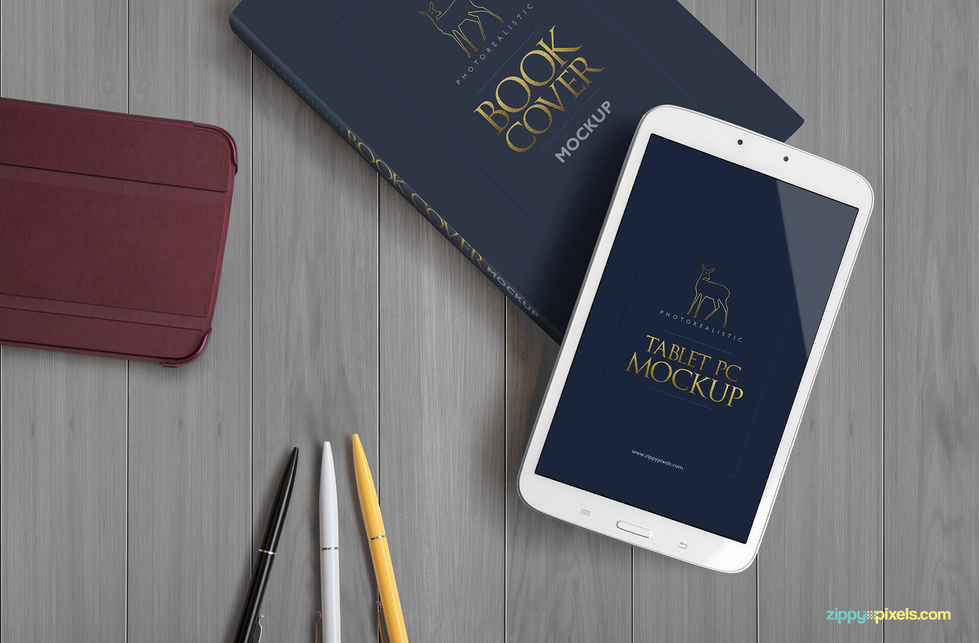 Photorealistic book Mockup - top down view of hardcover book, tablet, tablet cover and pens