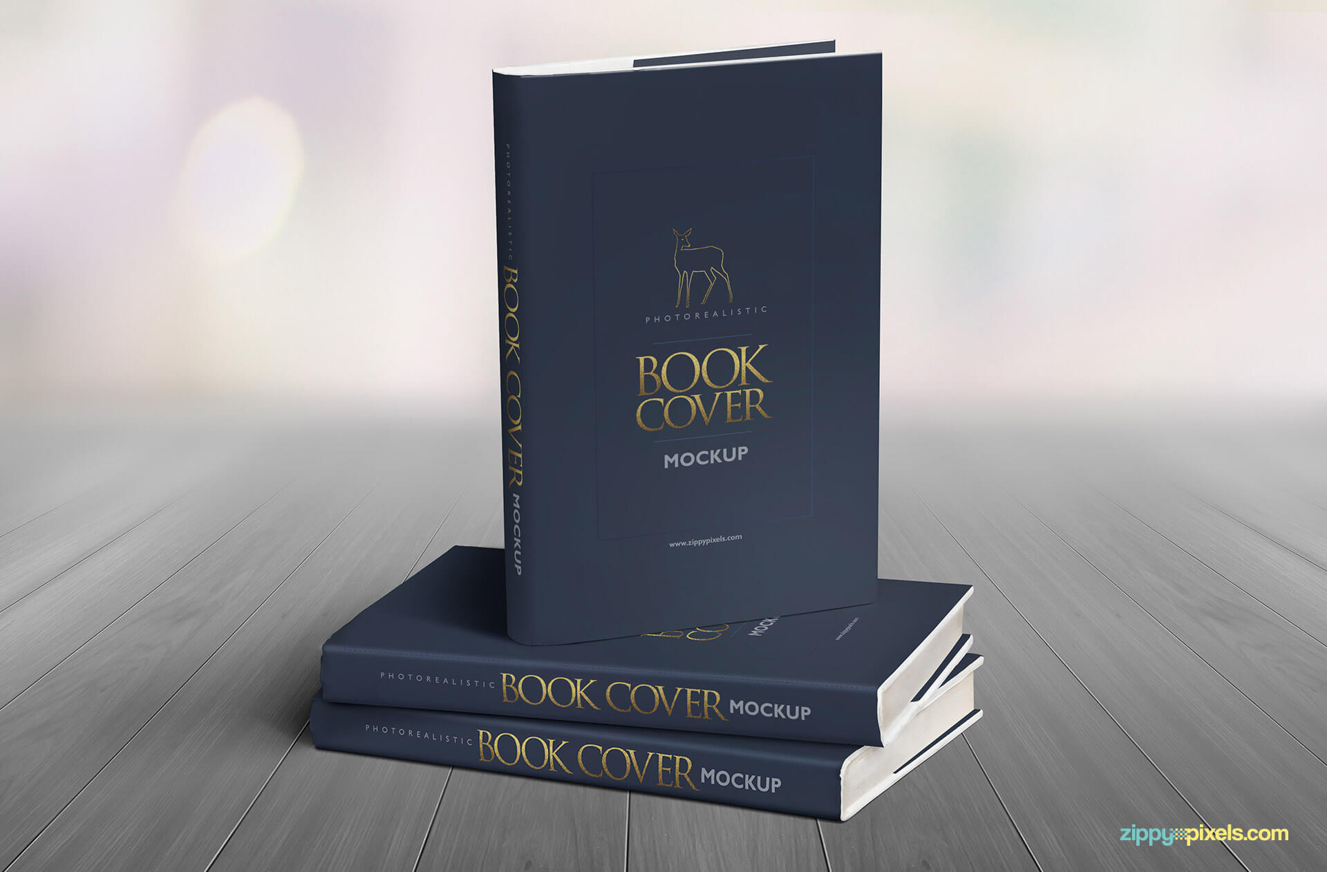 Photorealistic PSD book mockup showcasing cover designs on book standing on two other books