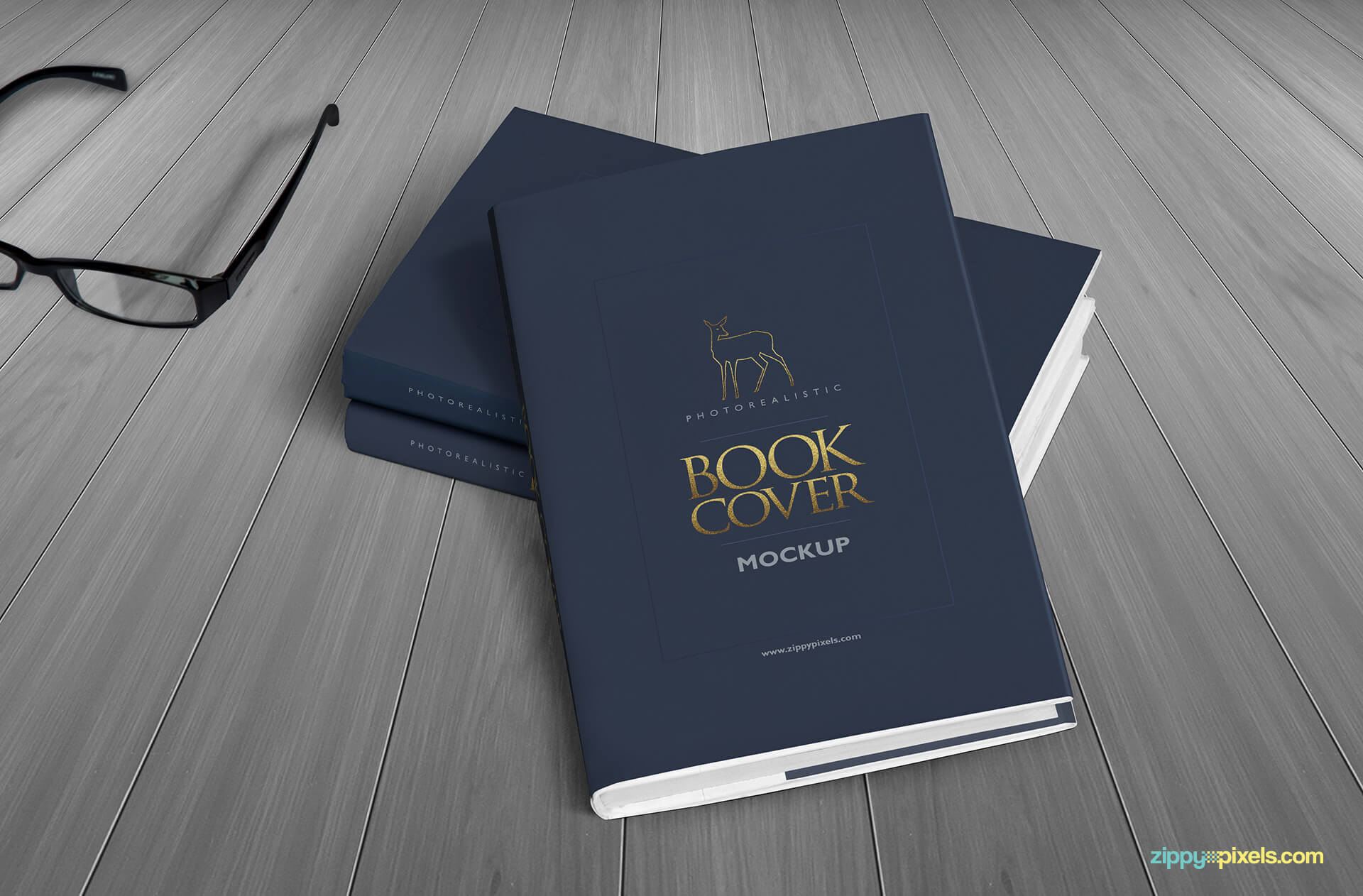 Hardcover book mockups - Two books lying on each other with a pair of glasses on side