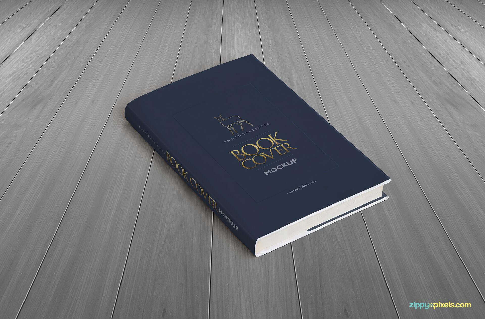 Hardcover book mockup showing high angle view of hardcover book with dust cover
