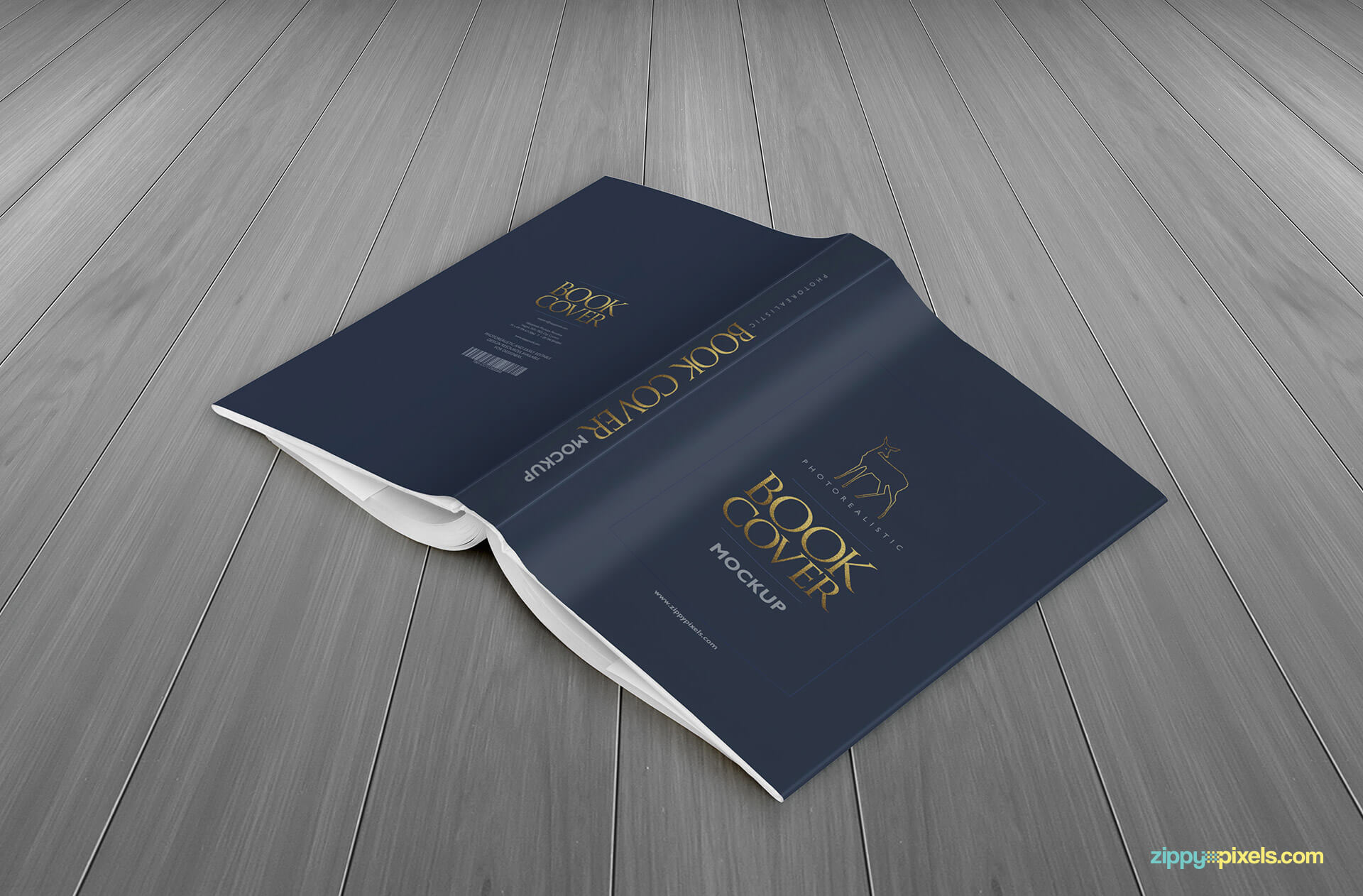 A book lying face down shoing full book dust cover design in this book mockup