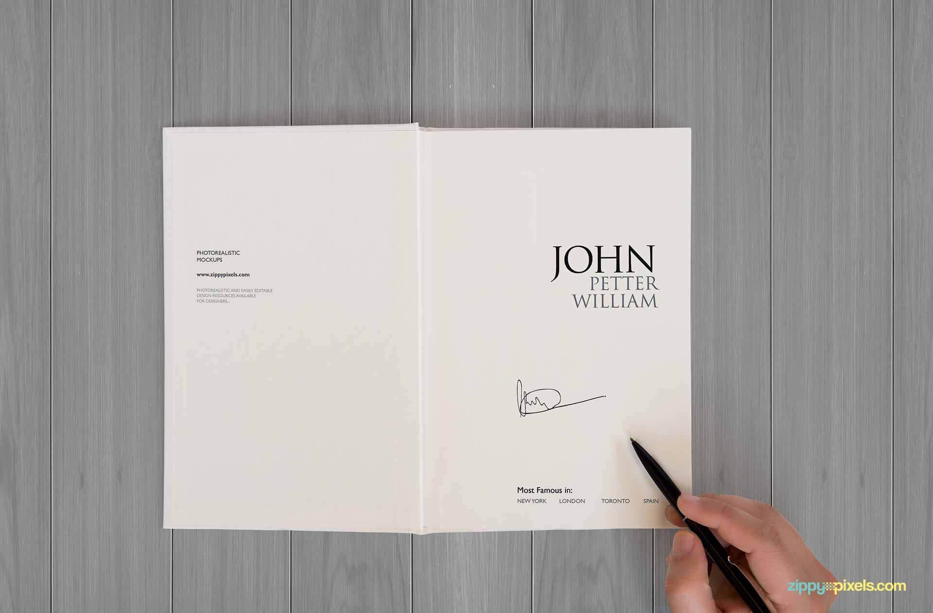 Realistic book mockup showing title cover with book title and signature