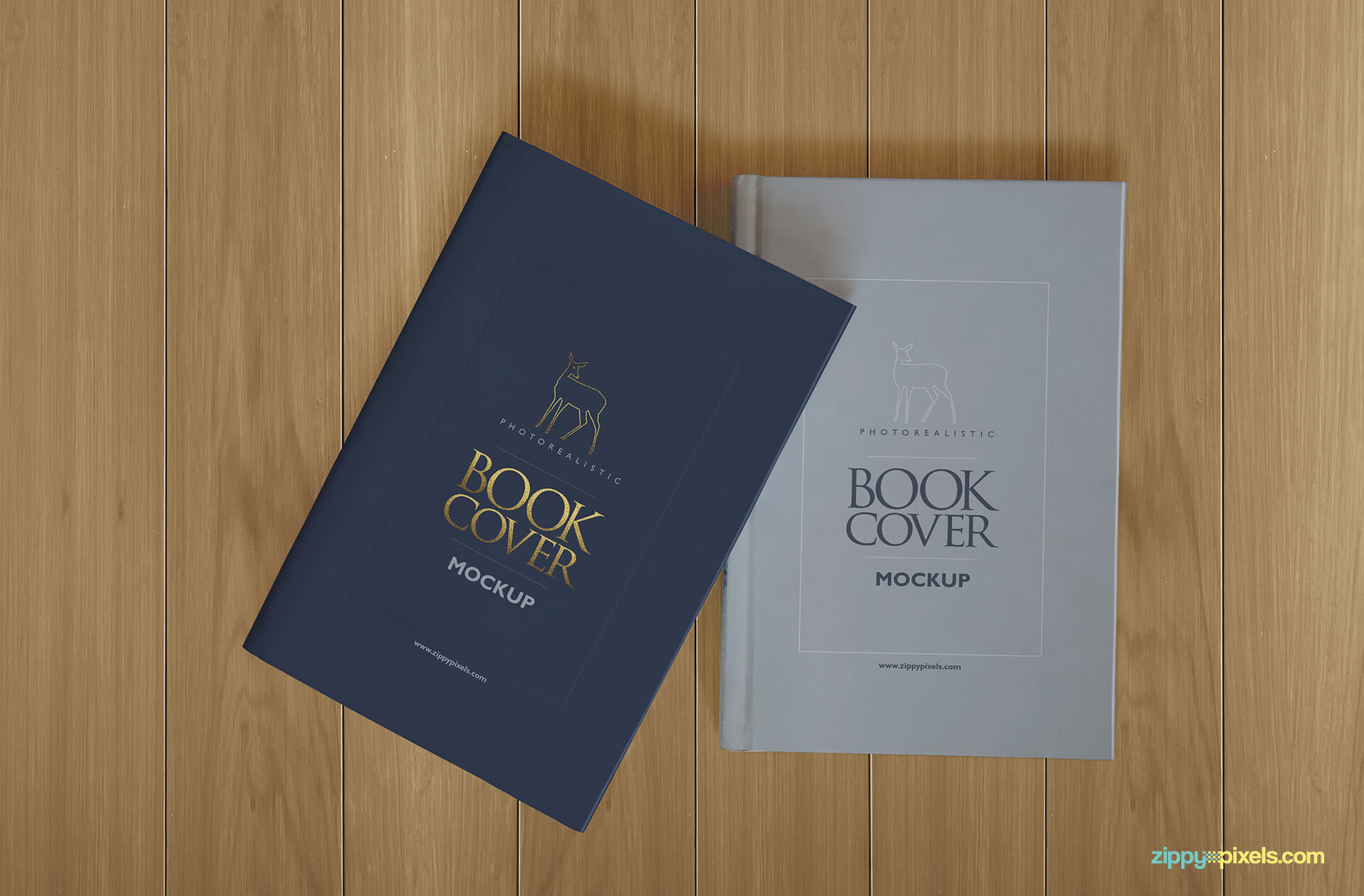 Hardcover book mockup showing two books with hardback and dustcover lying on table
