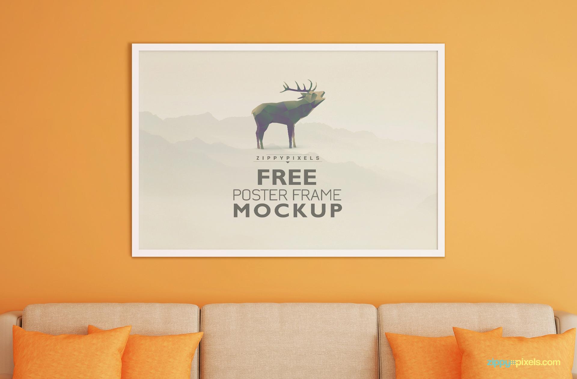 Free Frame Mockup for Poster, Photo & Artwork