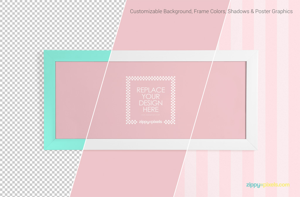 Exquisite Poster Frame PSD Mockups with Customizable Background, Shadows & Frame Colors