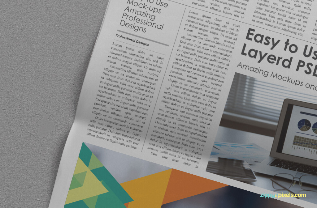Free Customizable Newspaper Ad Mockup with Customizable Background