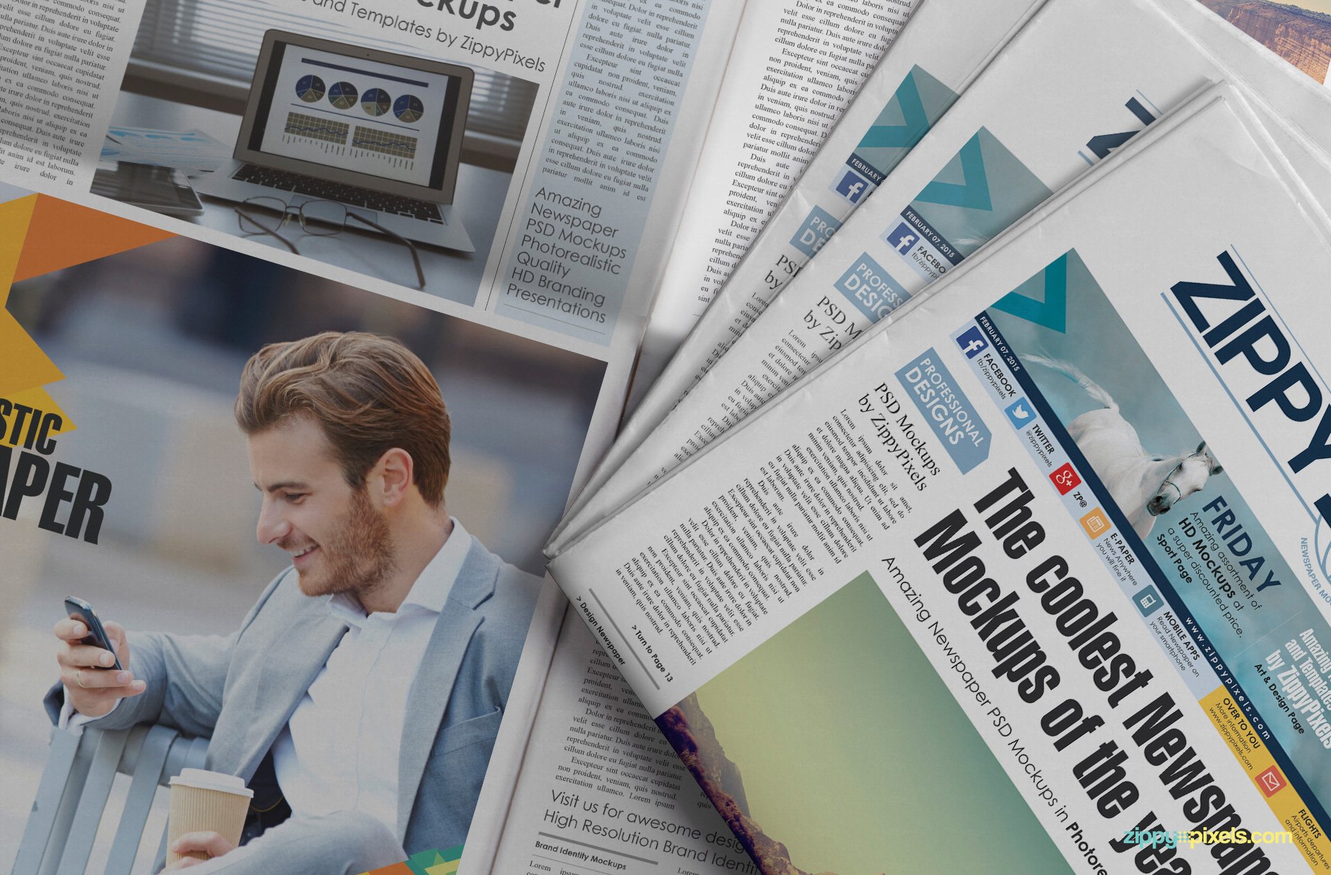 Free Photorealistic Newspaper Mokcup for Advertising