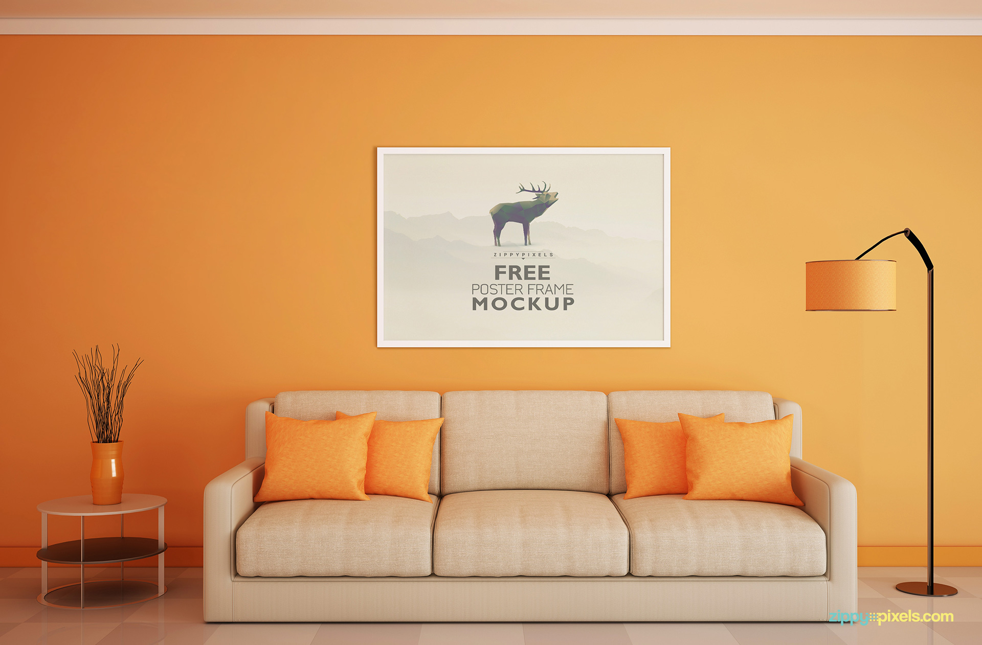 Download free frame mockup for poster display zippypixels for Design a room online free with measurements