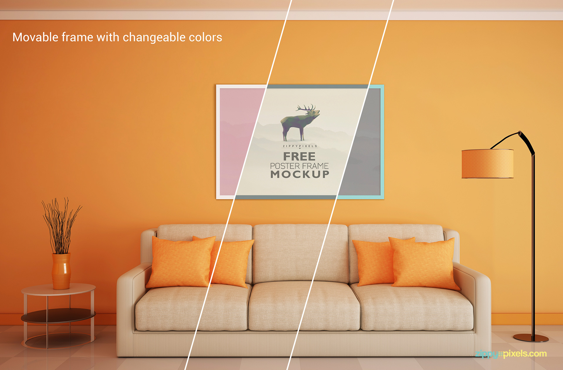 Free Poster Mockup with Customizable Frame, Background, Shadows