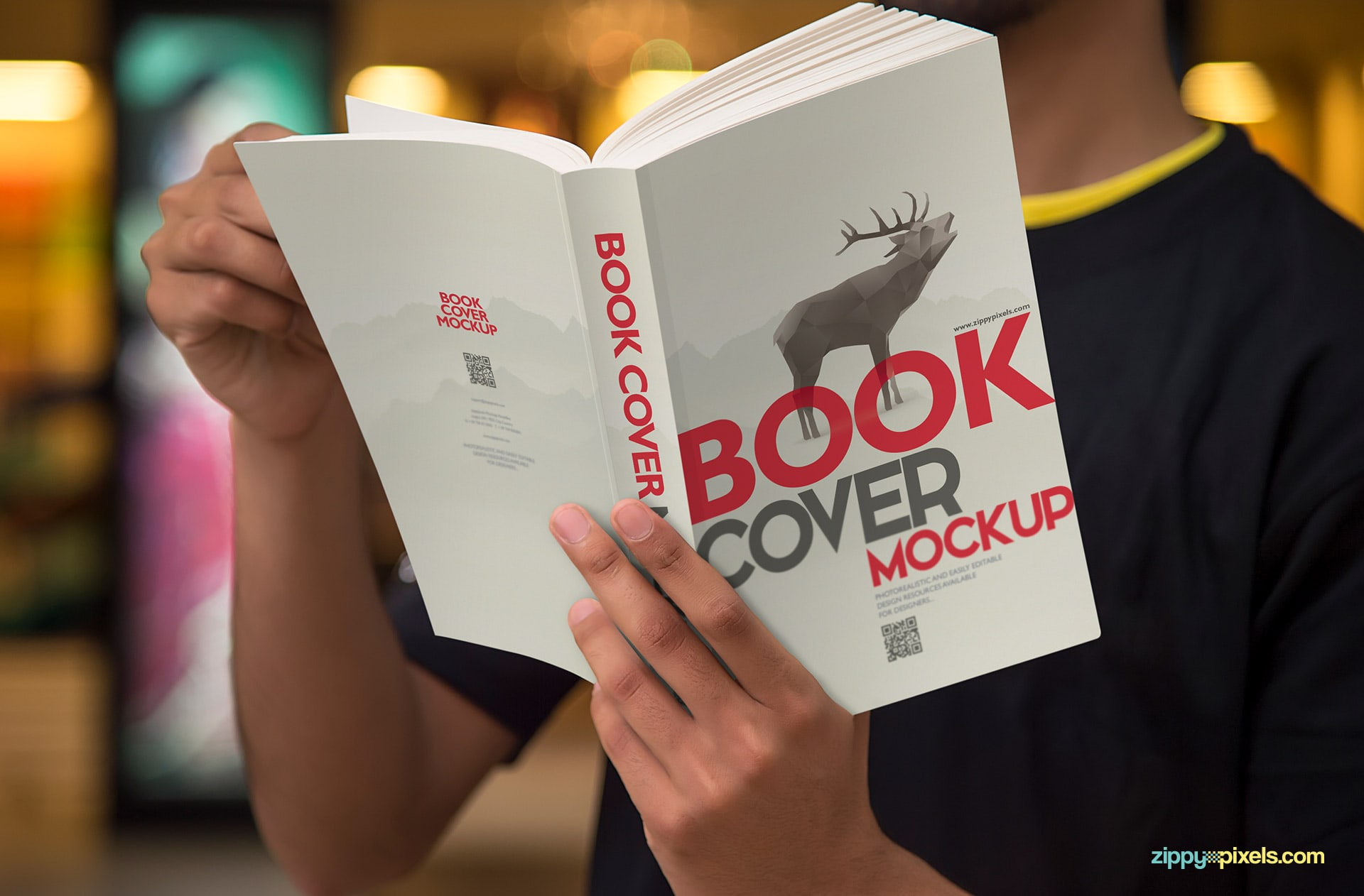 PSD book mockups showing a person reading a softcover book