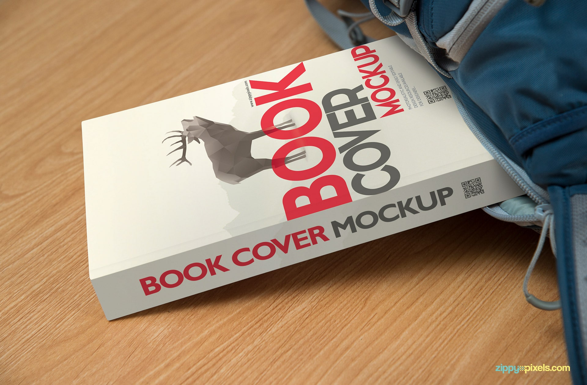 Awesome book mockup to showcase front cover design in zoomed shot of paperback book in bag
