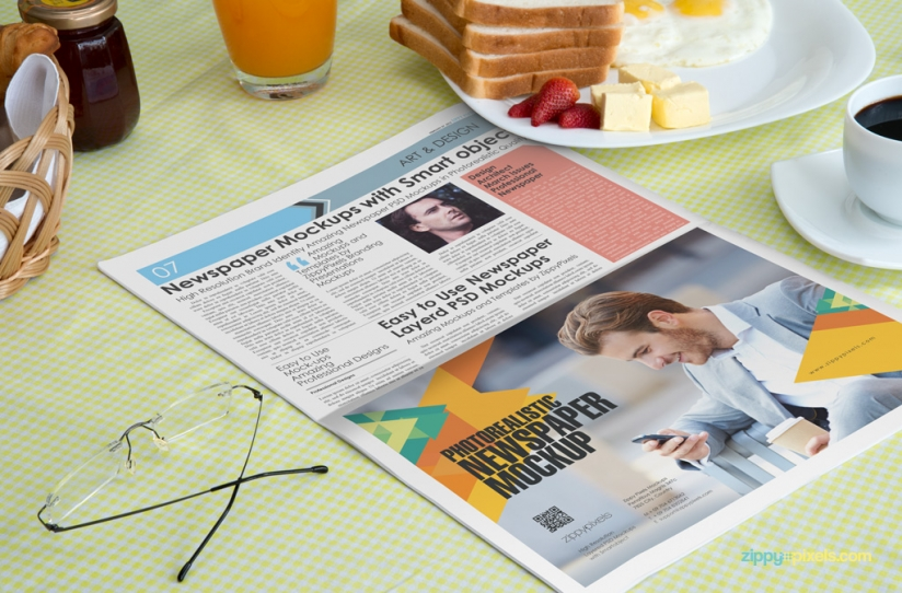 Newspaper ad mockups showing a closeup of half page newspaper ad with breakfast
