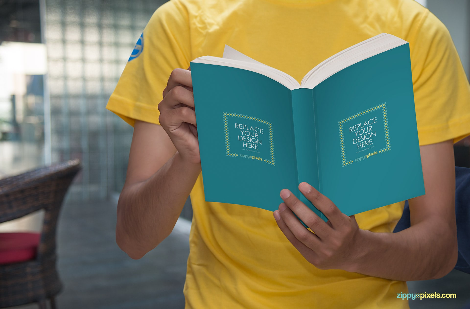 Photorealistic Paperback PSD mockup with smart object design replacement