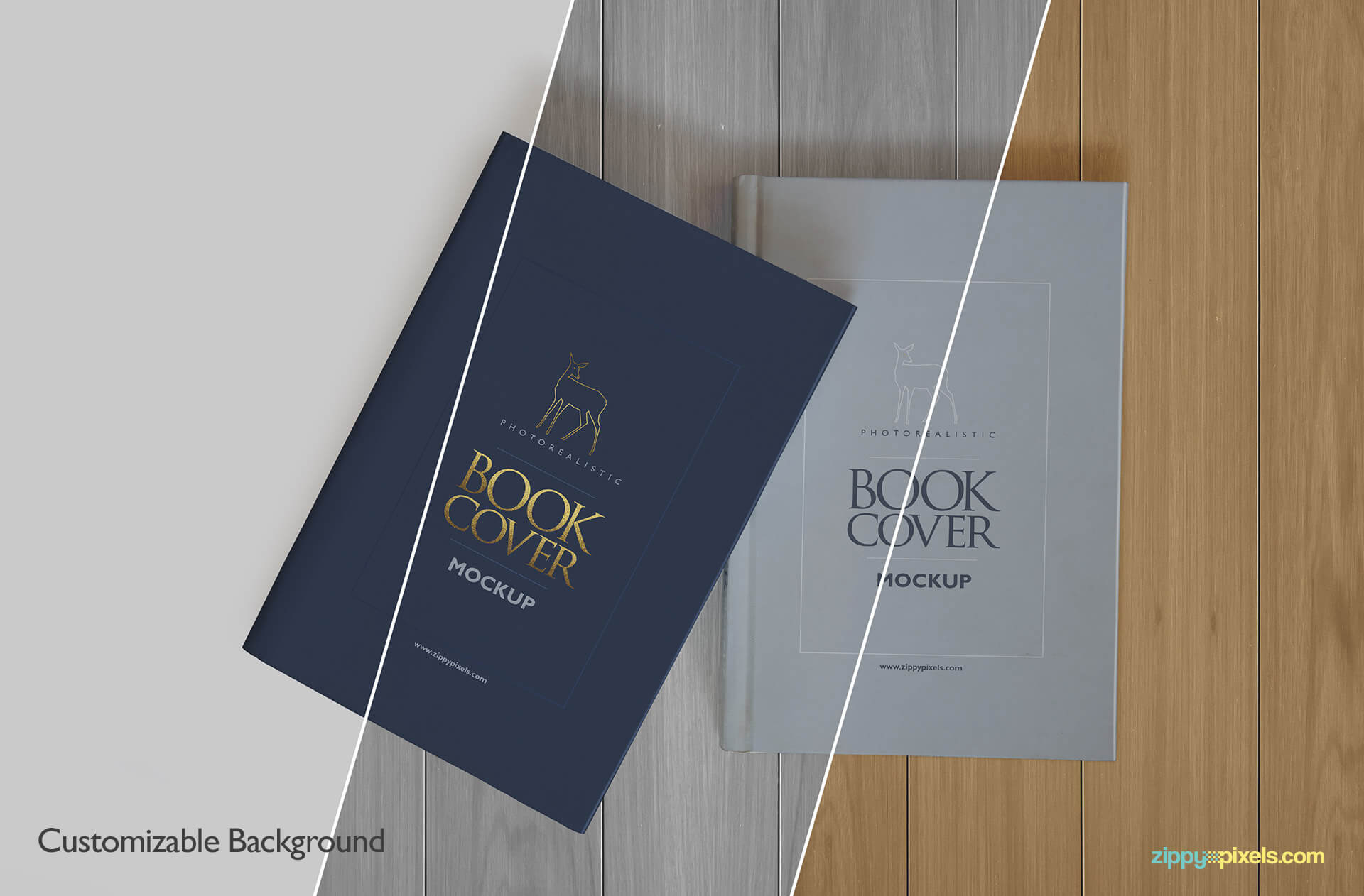 PSD hardcover book mockup wiht customizable background