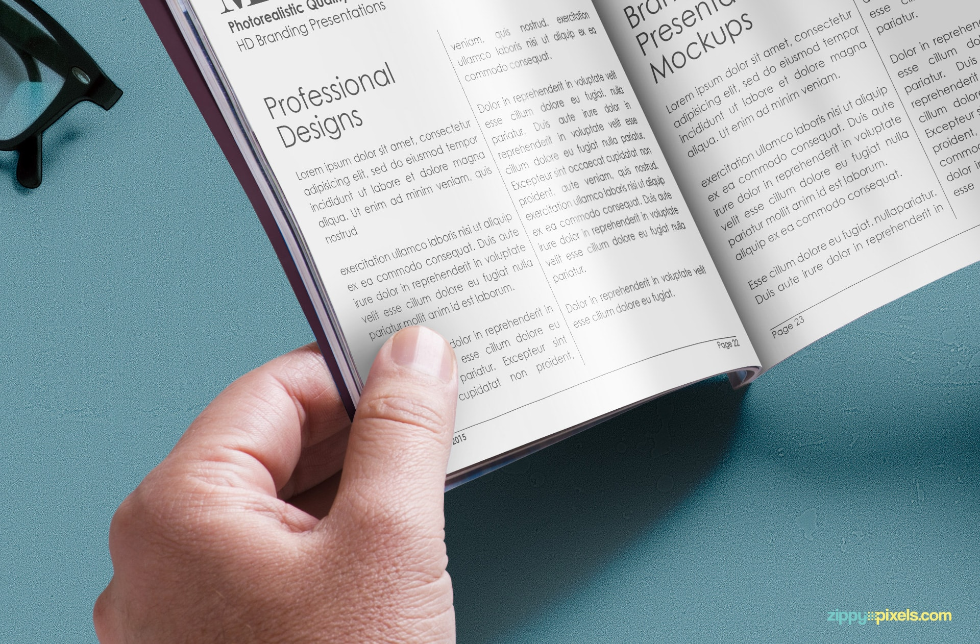 Closeup view of free digest size magazine mockup for showcasing inner page designs