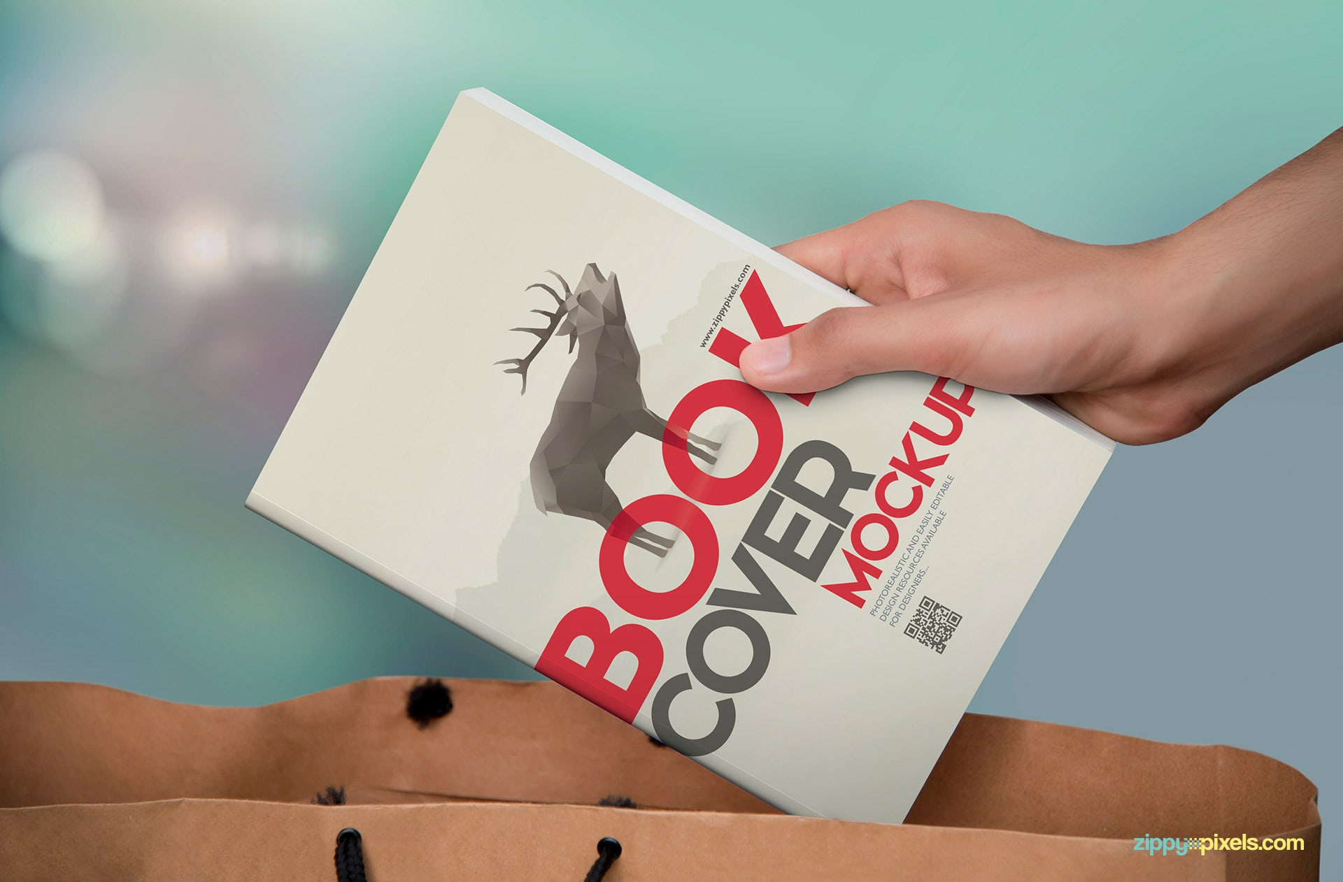 Photorealistic paperback mockup showing book being put in shopping bag