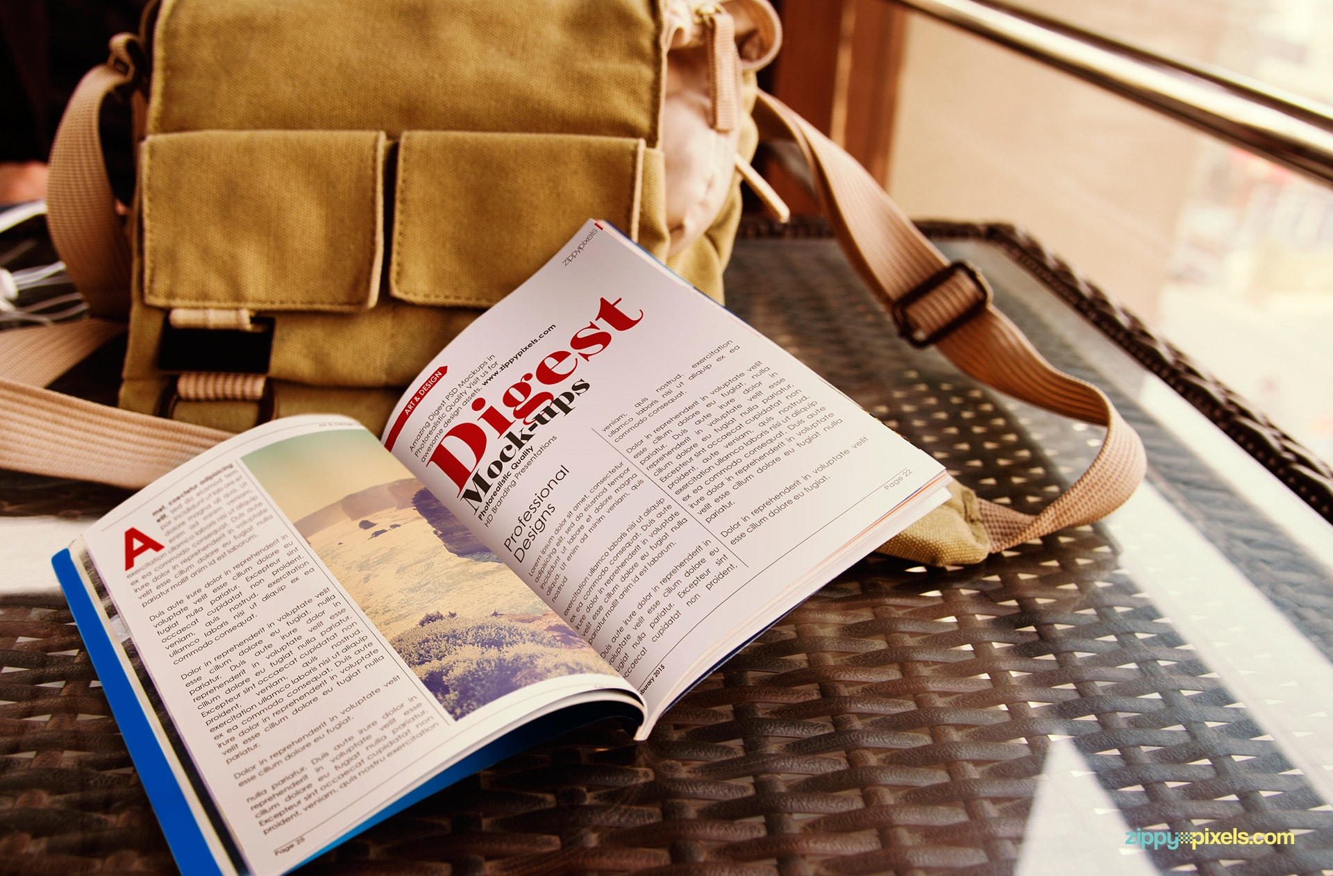 free-digest-open-magaine-mockup-with-traveling-bag