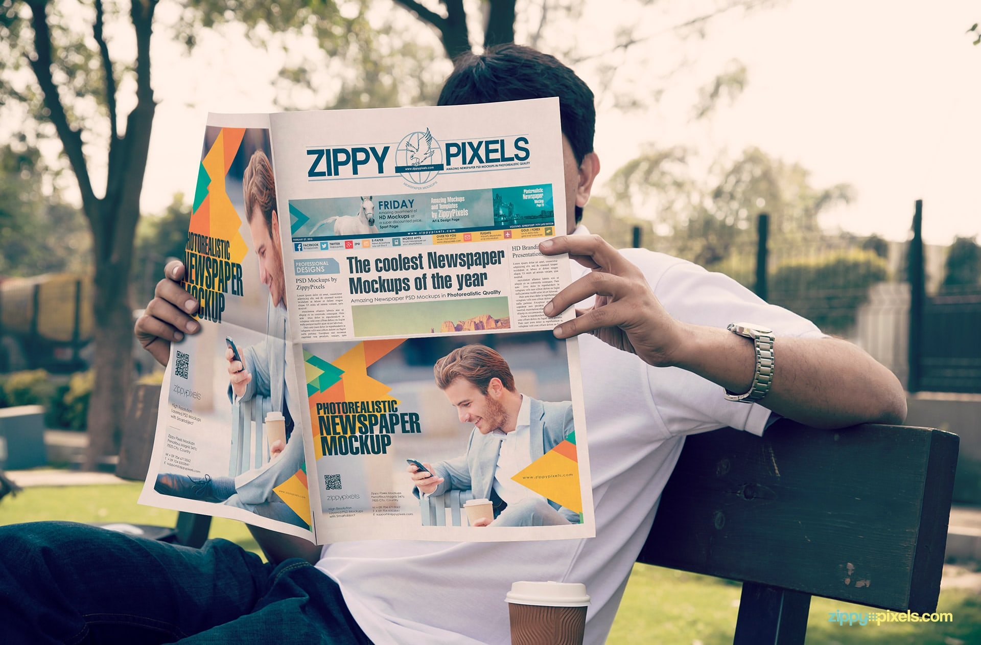Outdoor newspaper ad mockups showing person read newspaper in garden showing half & full page ads