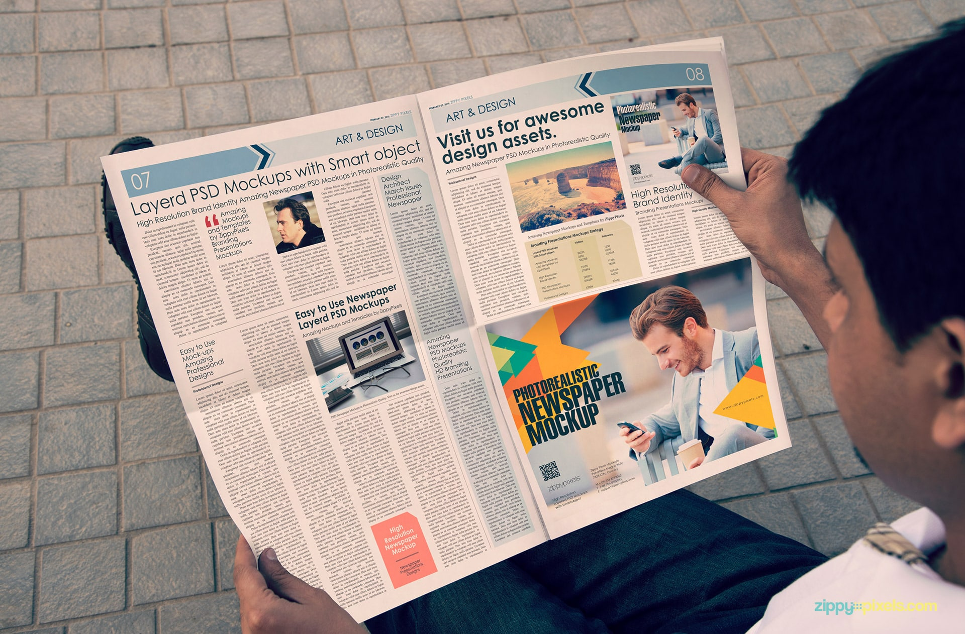 Newspaper mockup showing half page newspaper ad in person hands