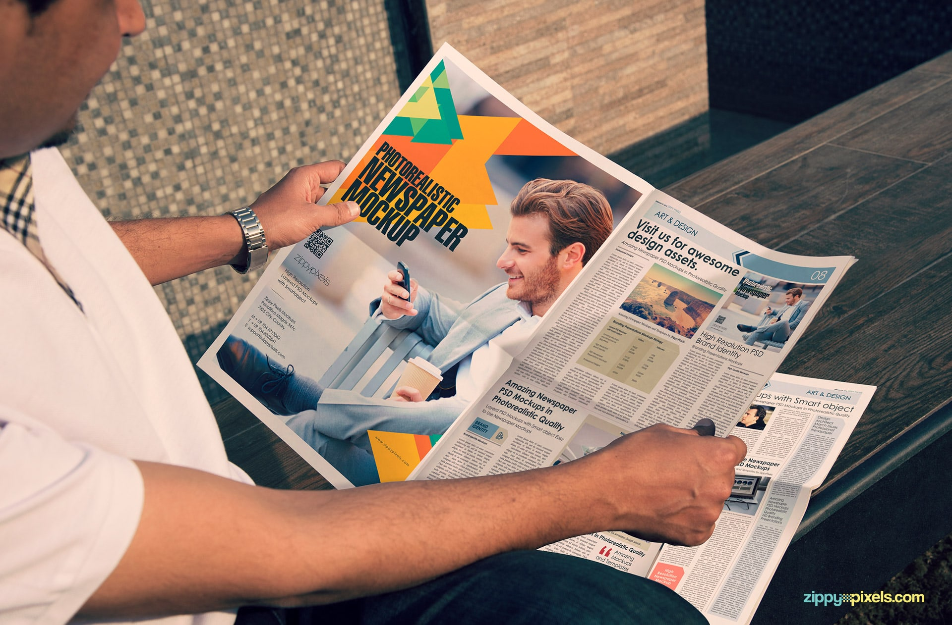 outdoor advertising newspaper mockup showing full page advertising design