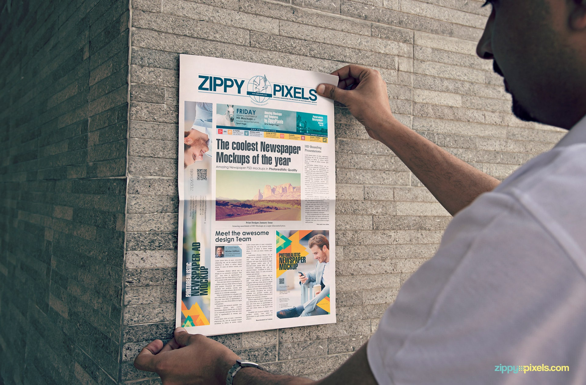 Photorealistic PSD Mockup of Berliner Newspaper Held Straight against Wall showing quarter page & single column ad