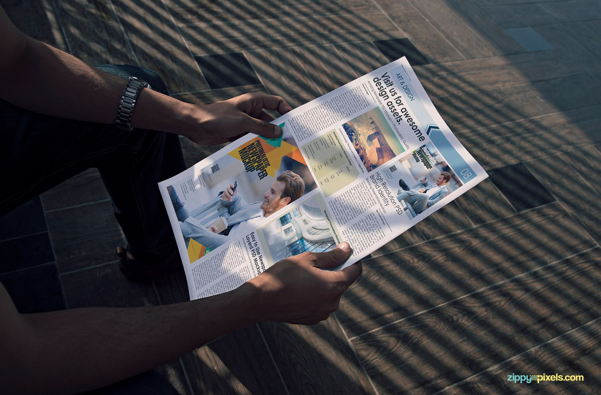 Outdoor newspaper ad mockups showing a person reading newspaper
