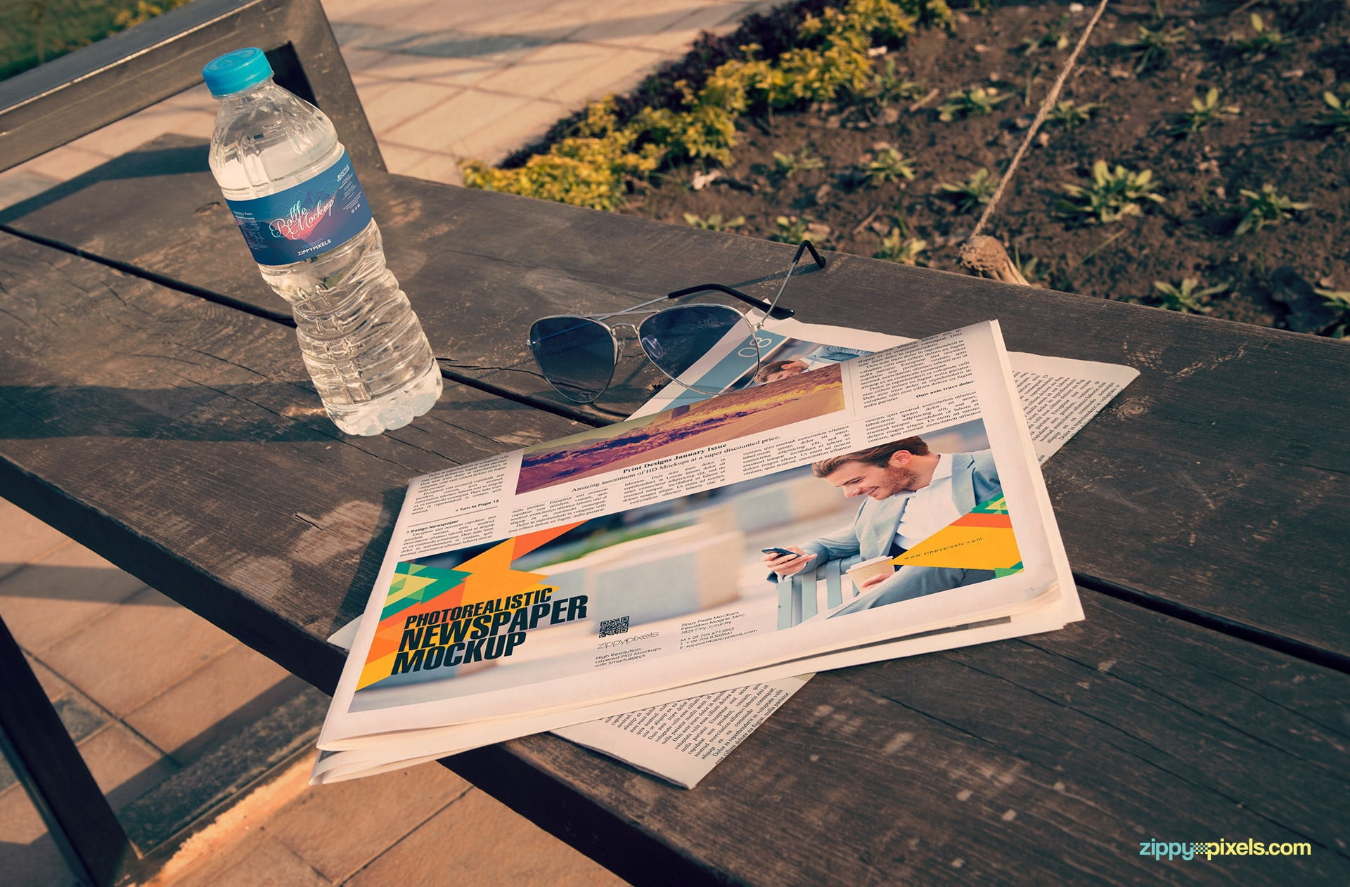 Advertising newspaper mockup - 2 half folded newspaper & water bottle lying on bench in garden