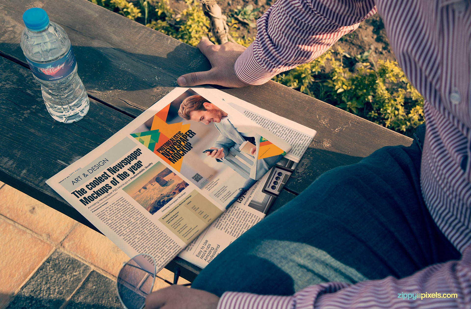 photorealistic newspaper mockup showing quarter page on half fold newspaper with water bottle sitting on bench