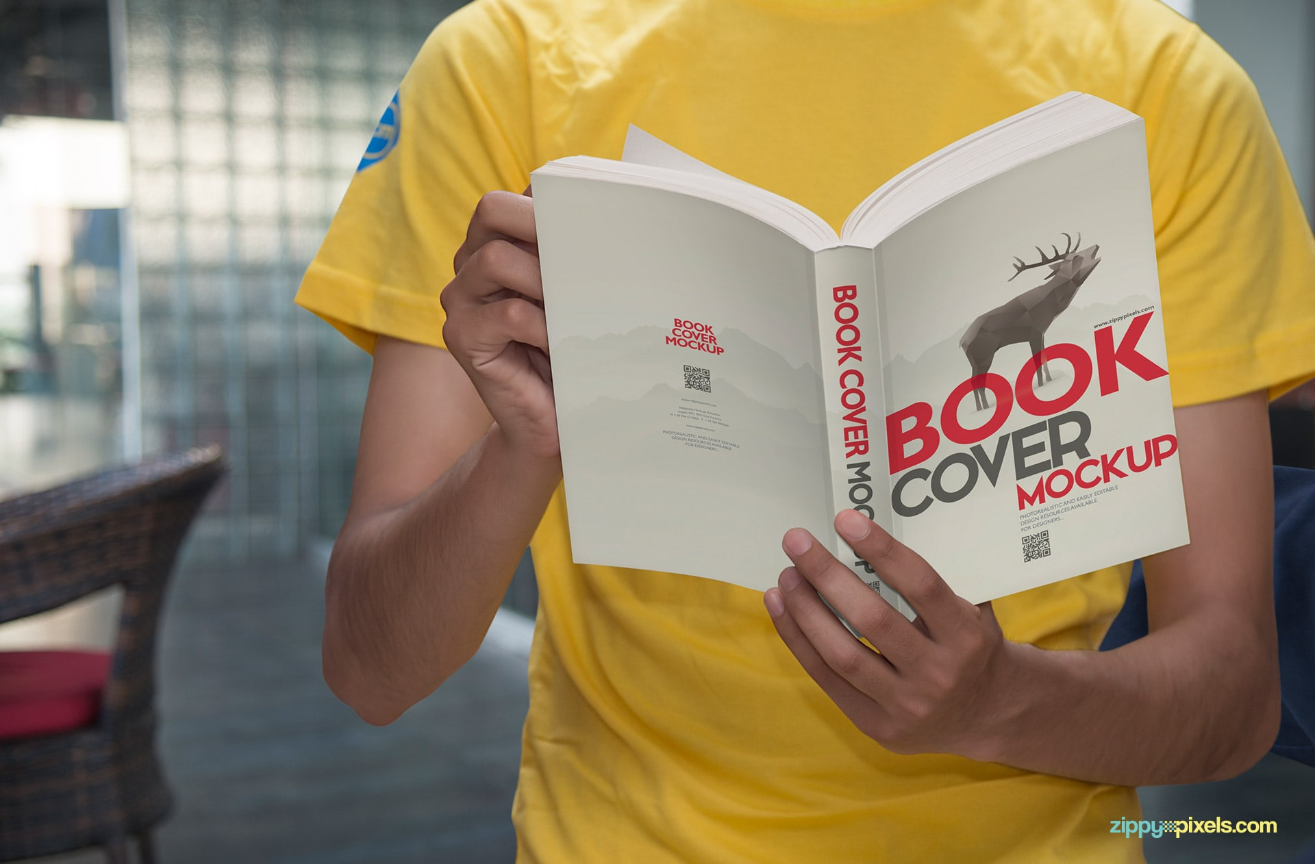 Book cover mockup - a low angle shot giving full cover view of paperback cover