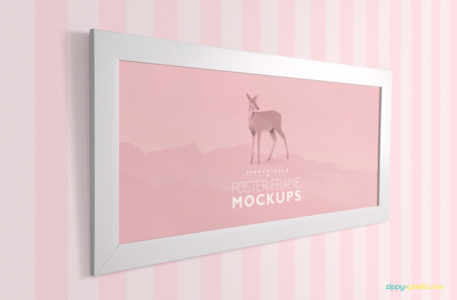 PSD Mockup of three quarter eye level view of frame on striped background wall