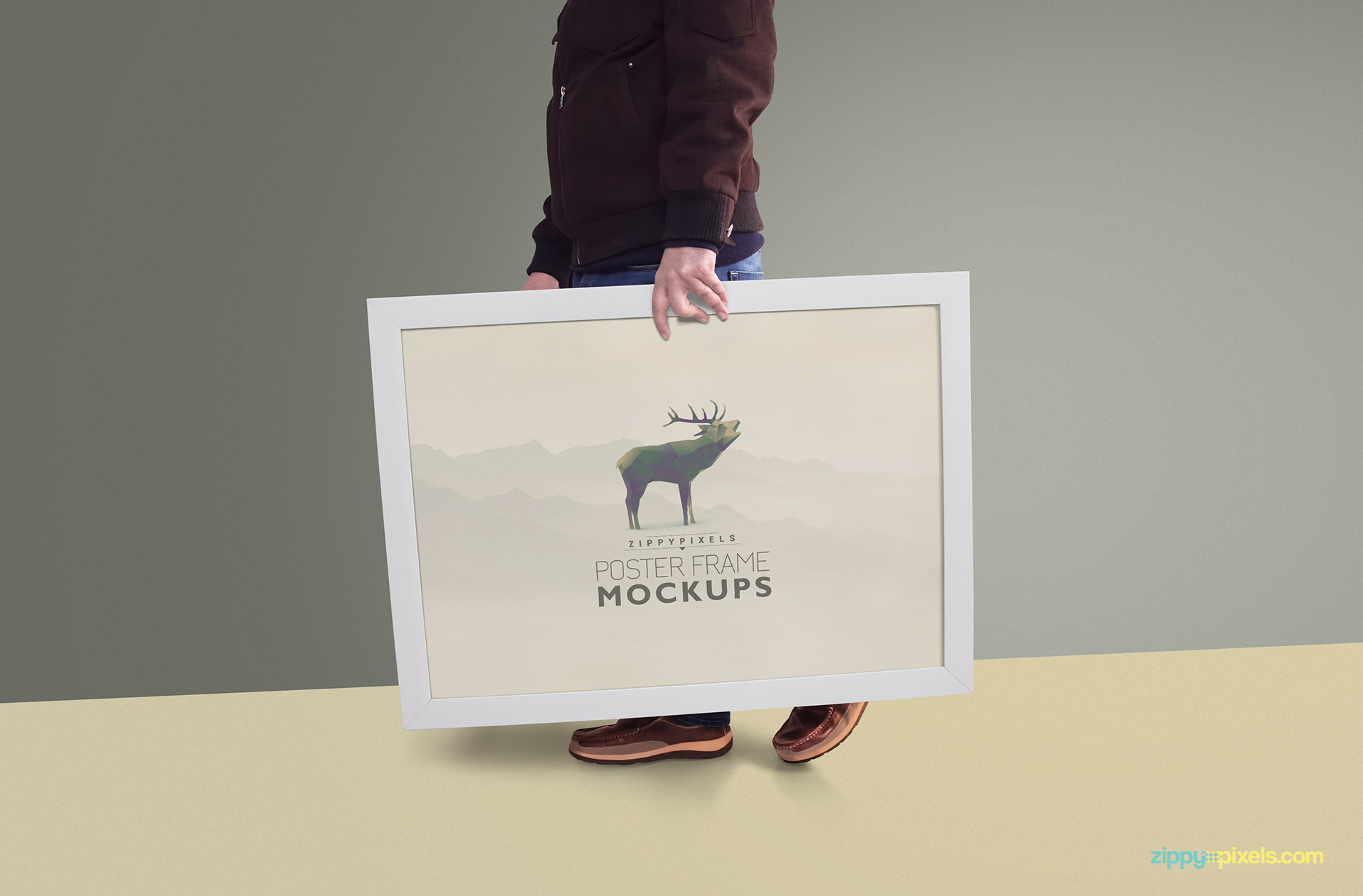 Poster frame mockup - person carrying picture frame
