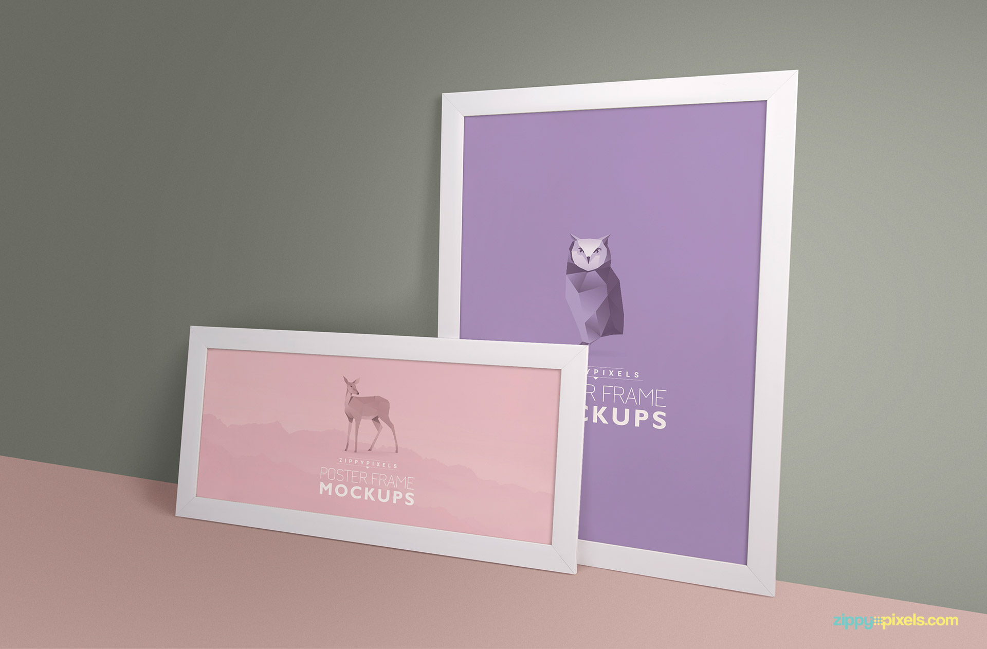 PSD mockup of two poster frames