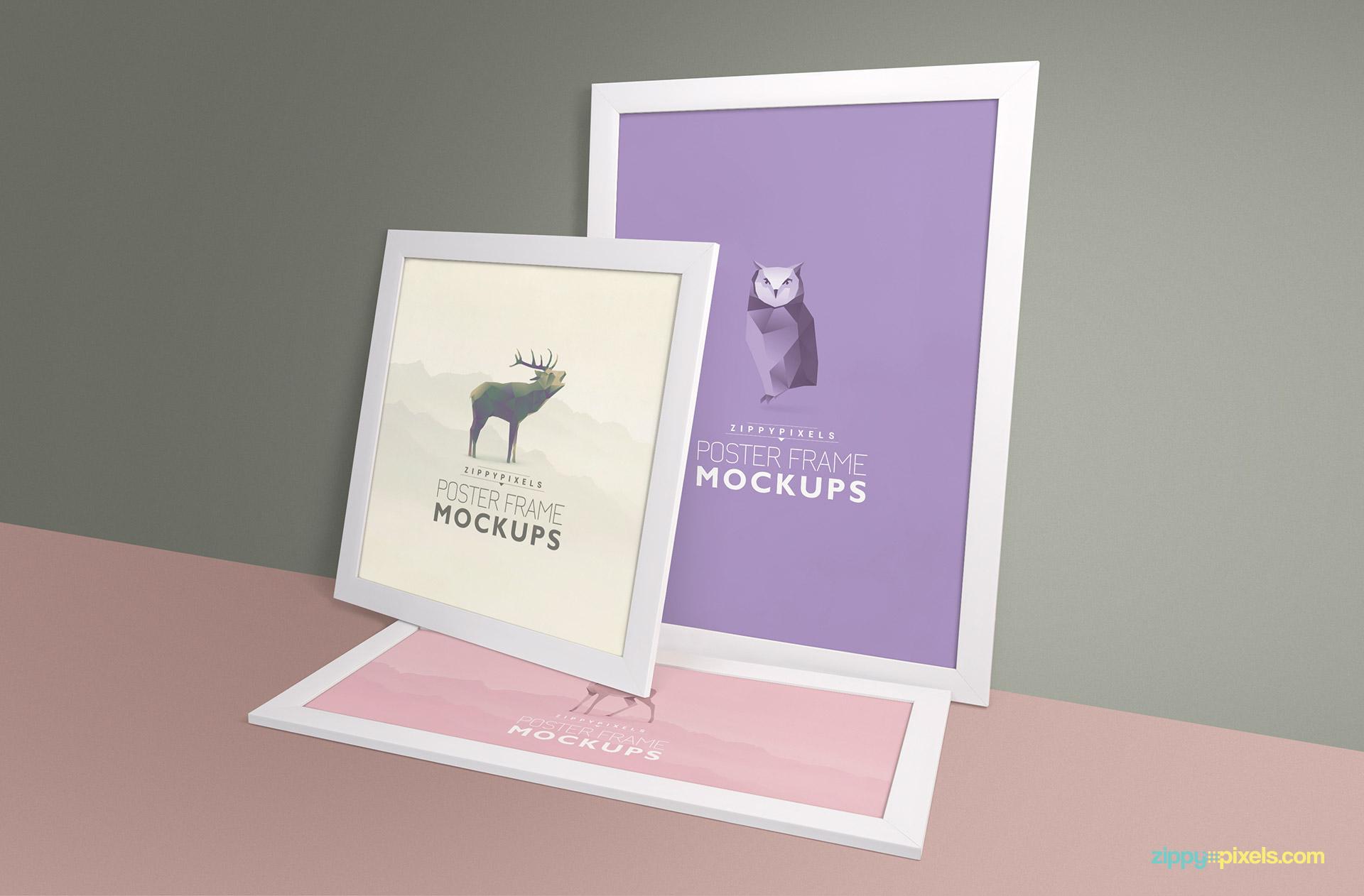 Mockup of three mockup frames