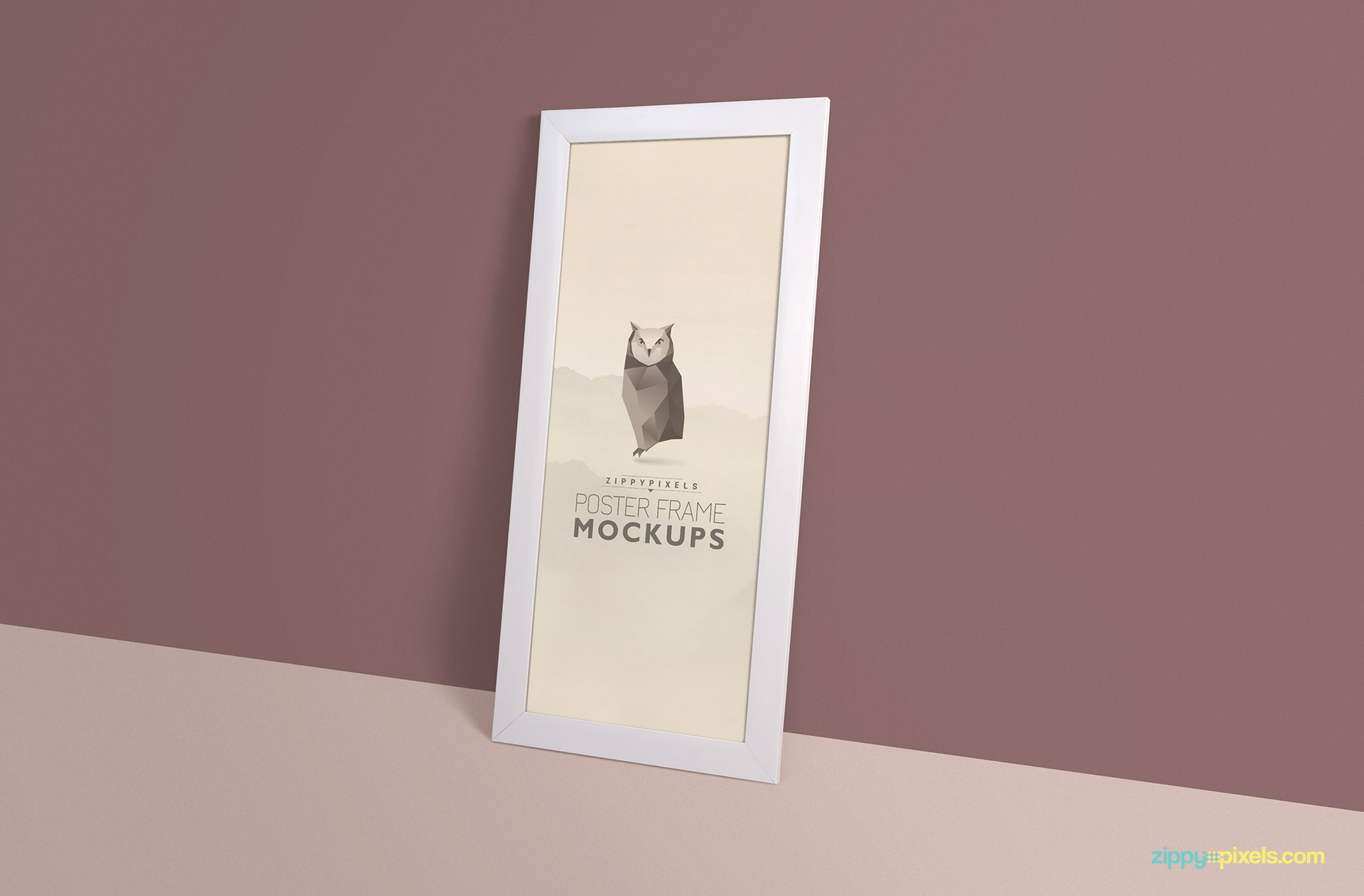 Vertical poster mockup with a frame (1:3) standing on floor against wall