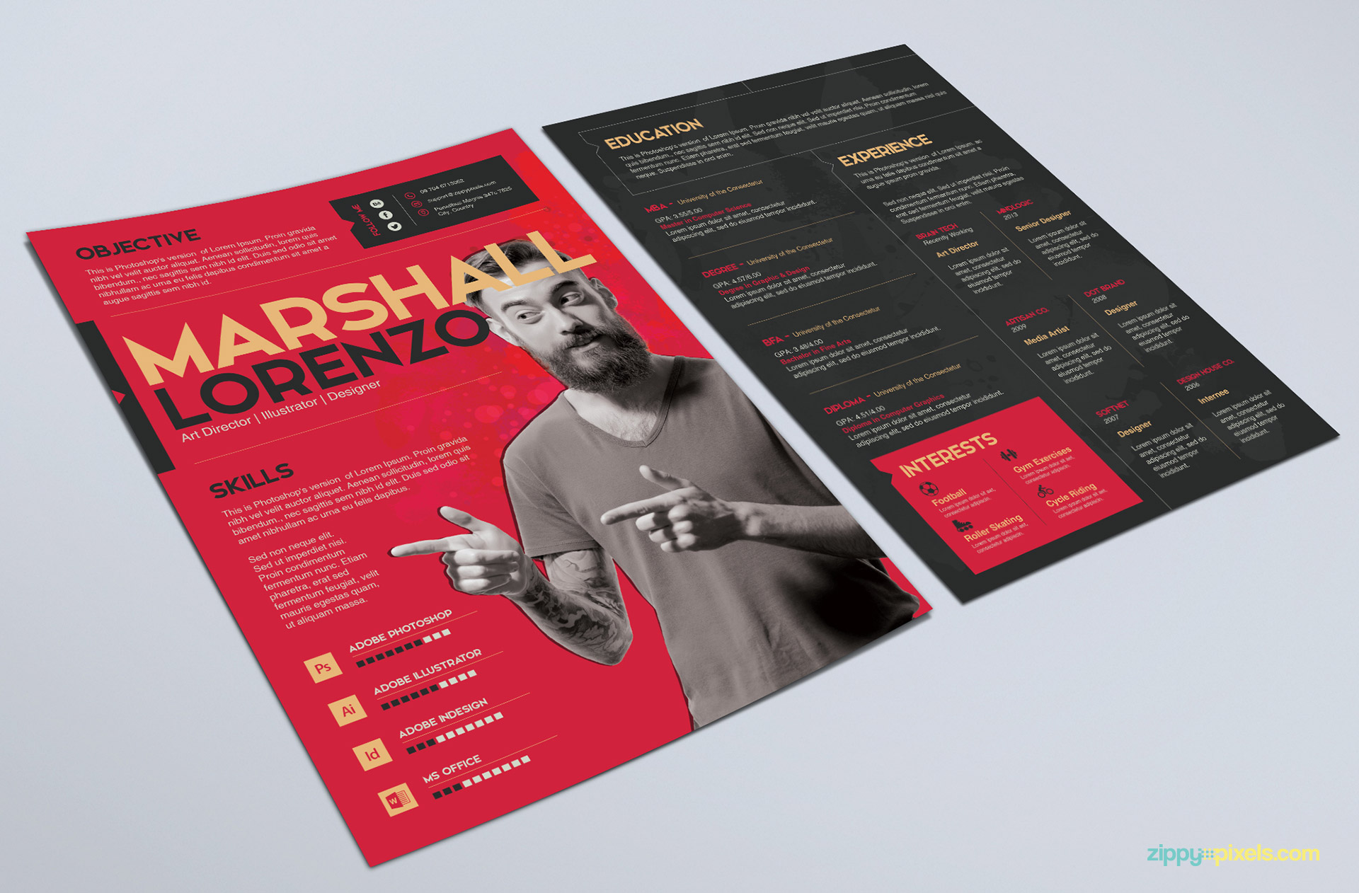 Creative PSD Resume Template in Red Color
