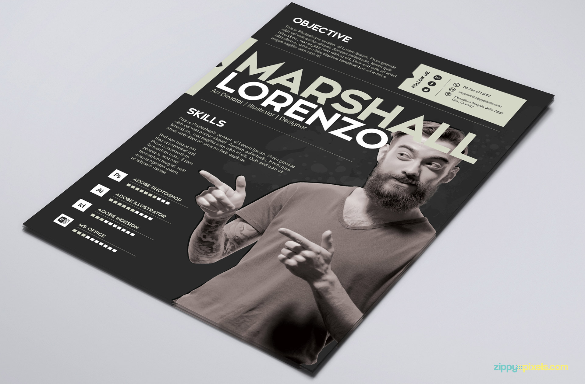 Black Color Creative PSD Resume Tempalte for Graphic Designers