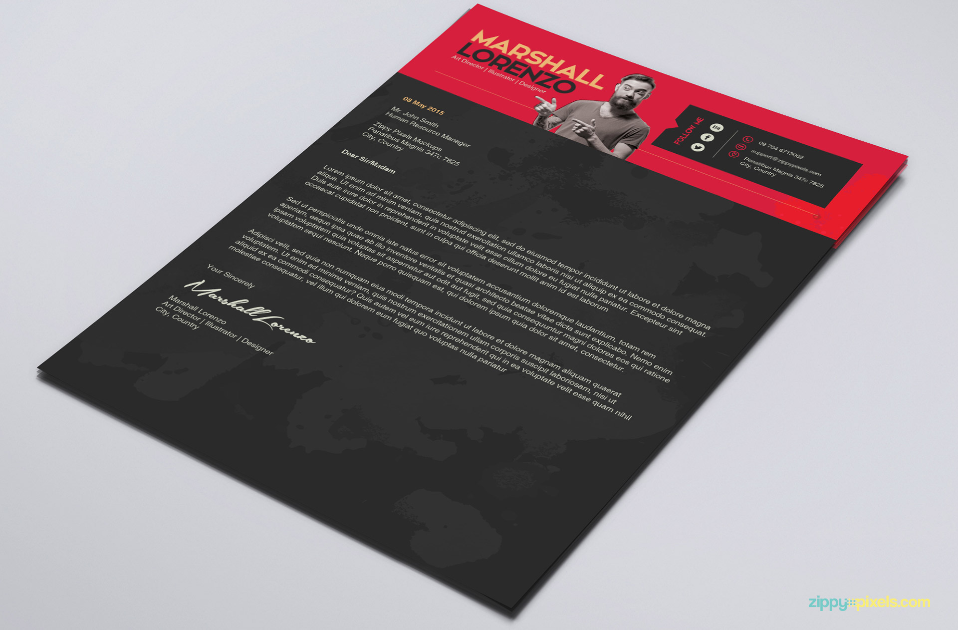 Charming Creative PSD Cover Letter Template
