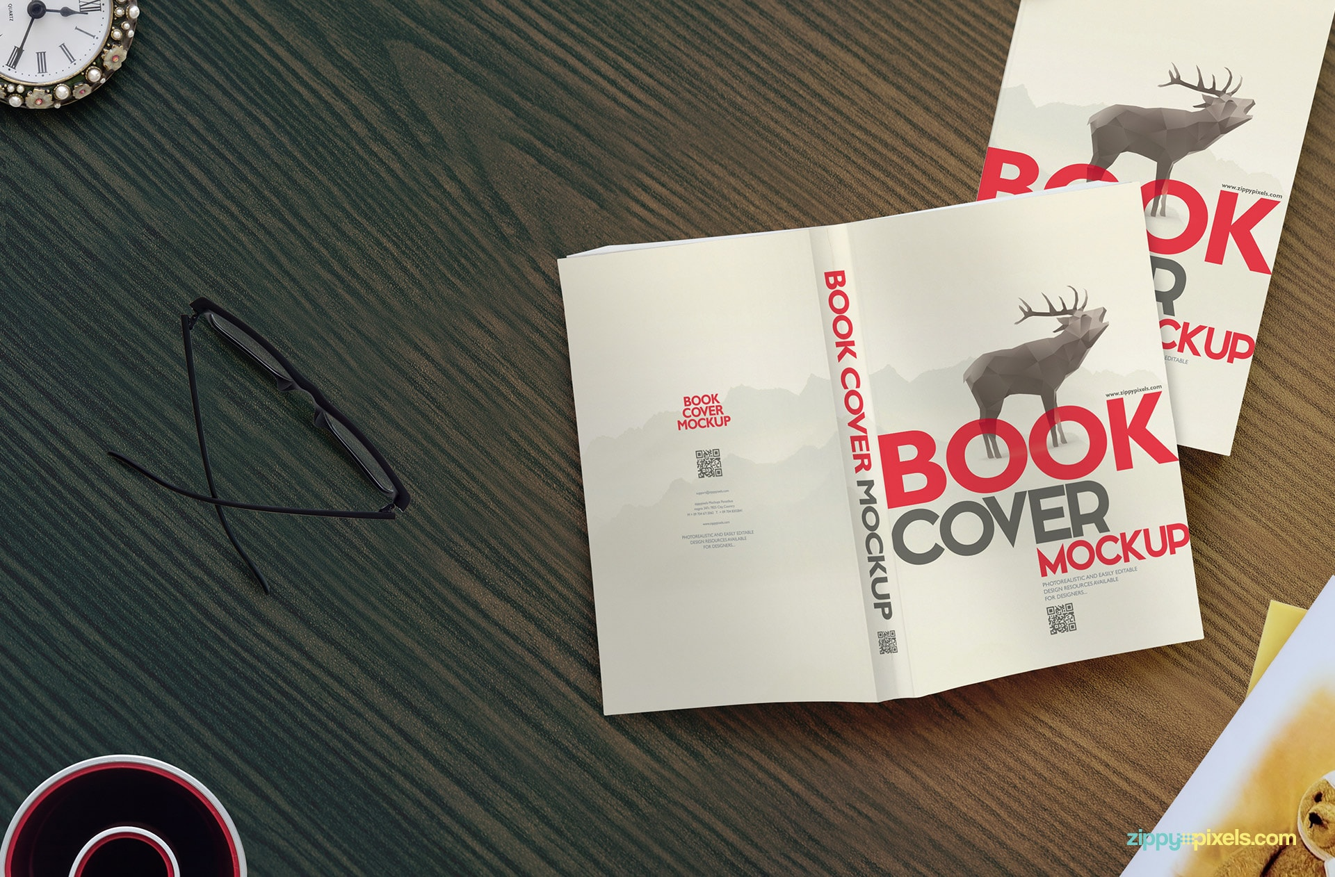 Paperback book mockup showing two paperbacks for showing softcover designs with a get greeting card lying on the side.