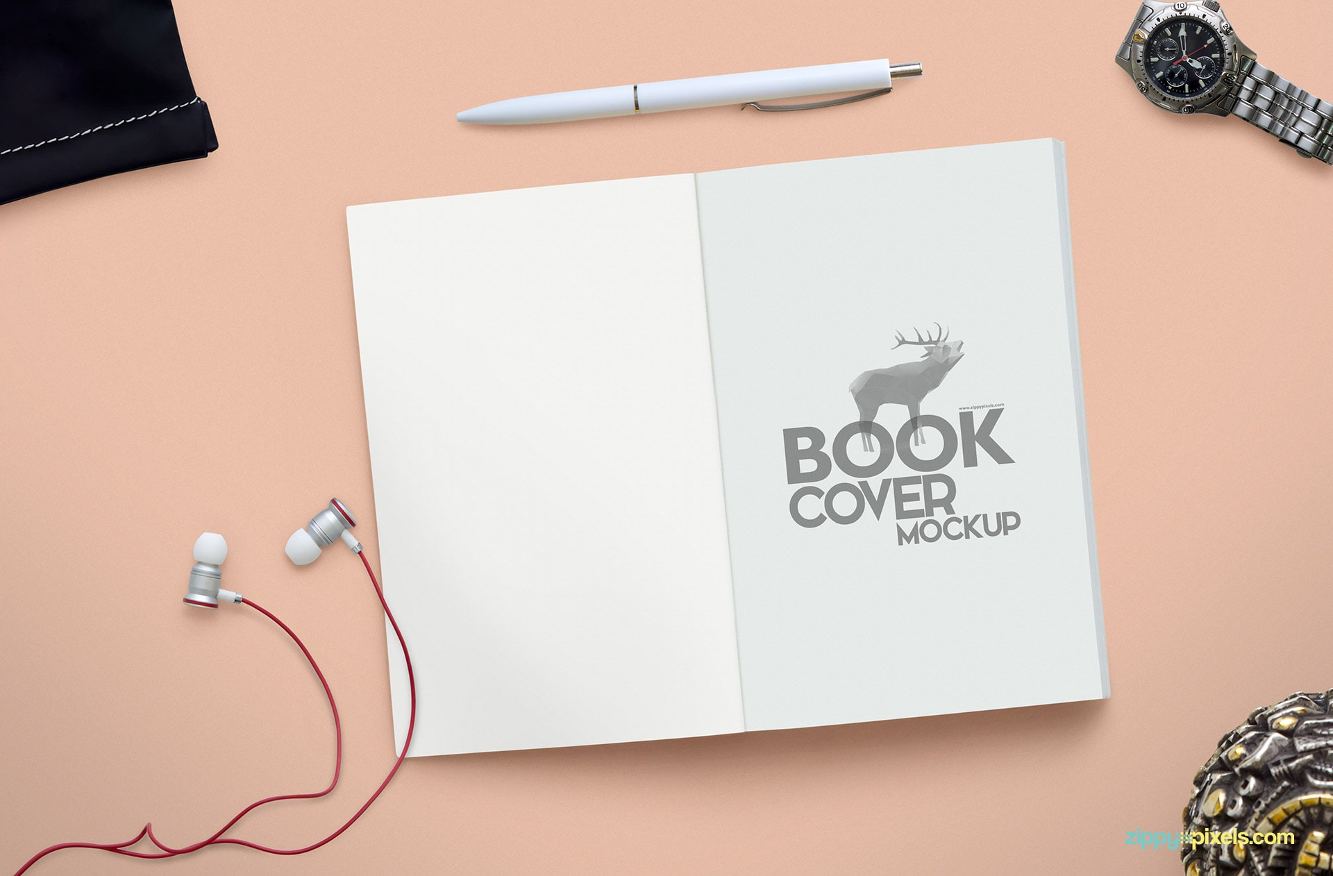 Open book psd mockup for title cover with ear phones, wristwatch, ball pen, pouch & jewelry box