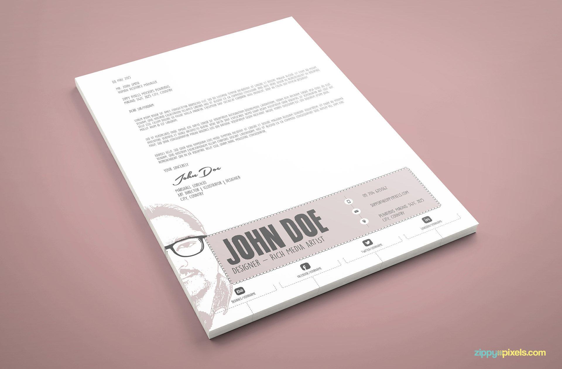 Designer Cover Letter PSD Template in Sketch Art Style