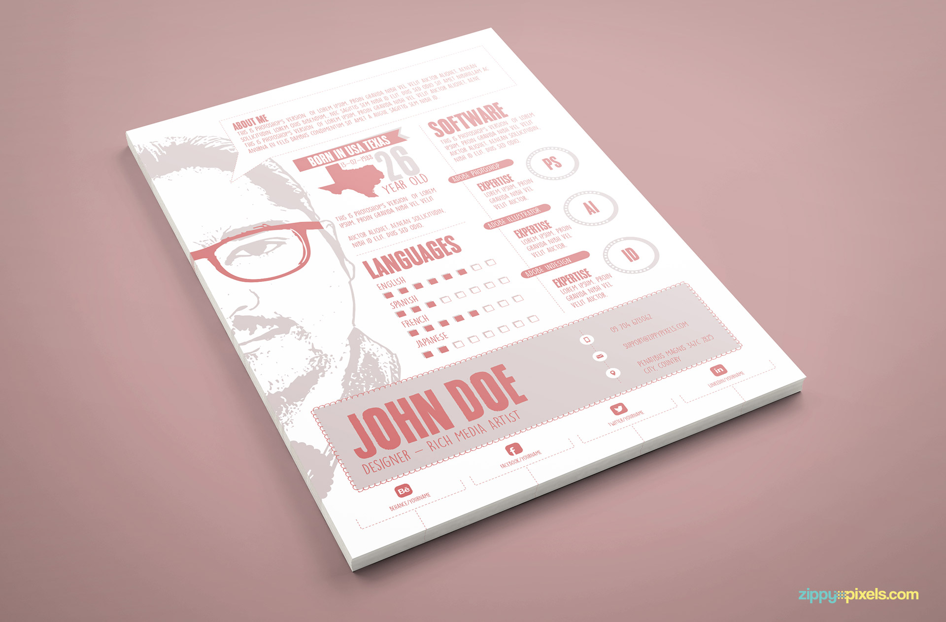 Designer Resume PSD Template in Pink Colore