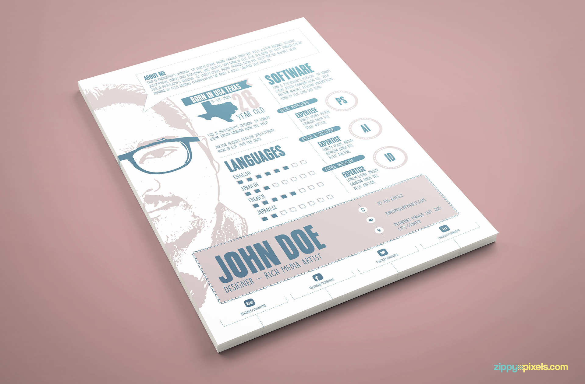 Designer Resume PSD Template in Blue Color