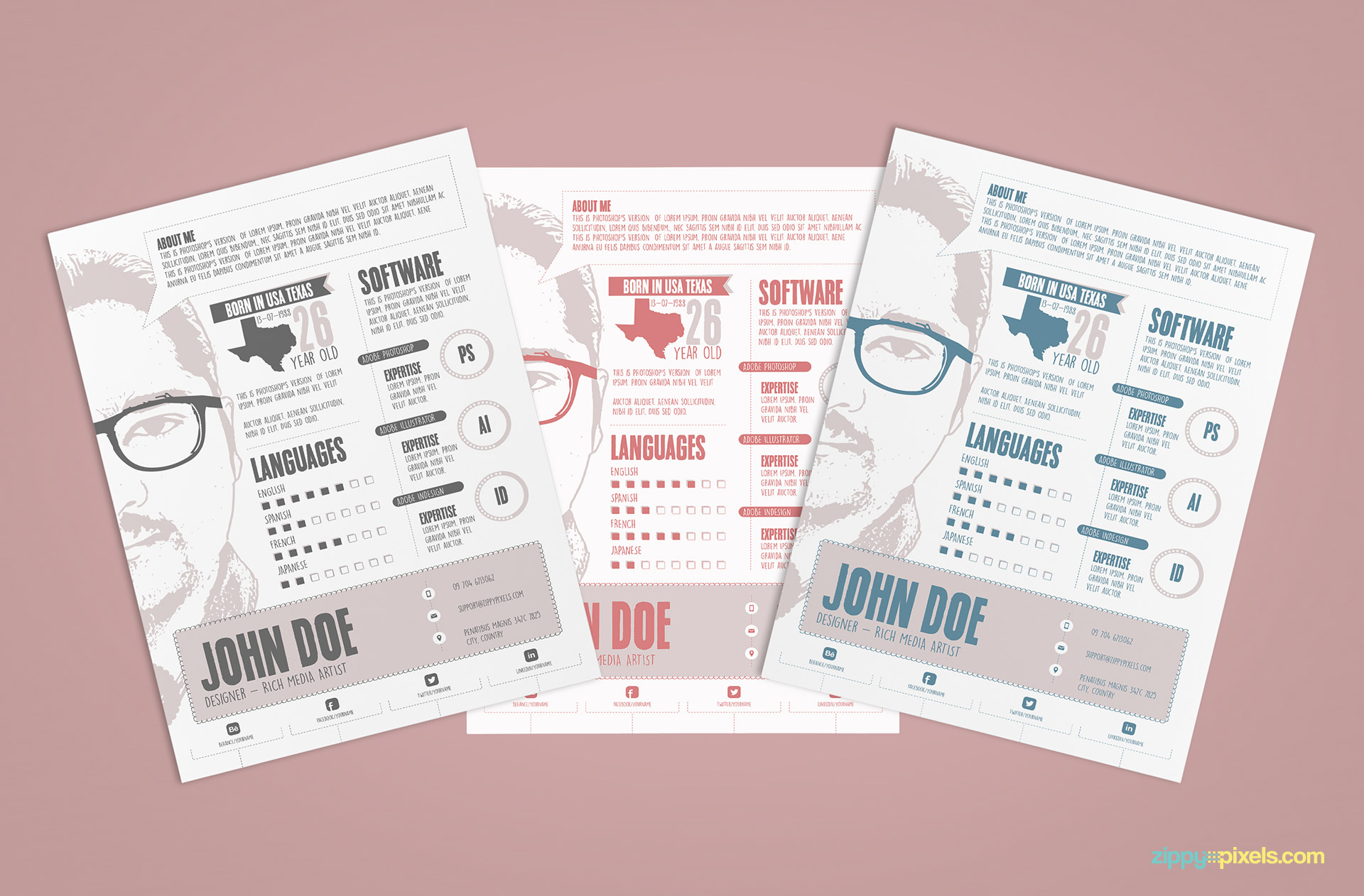 Graphic Designer Resume Template - Psd & Ai | Zippypixels