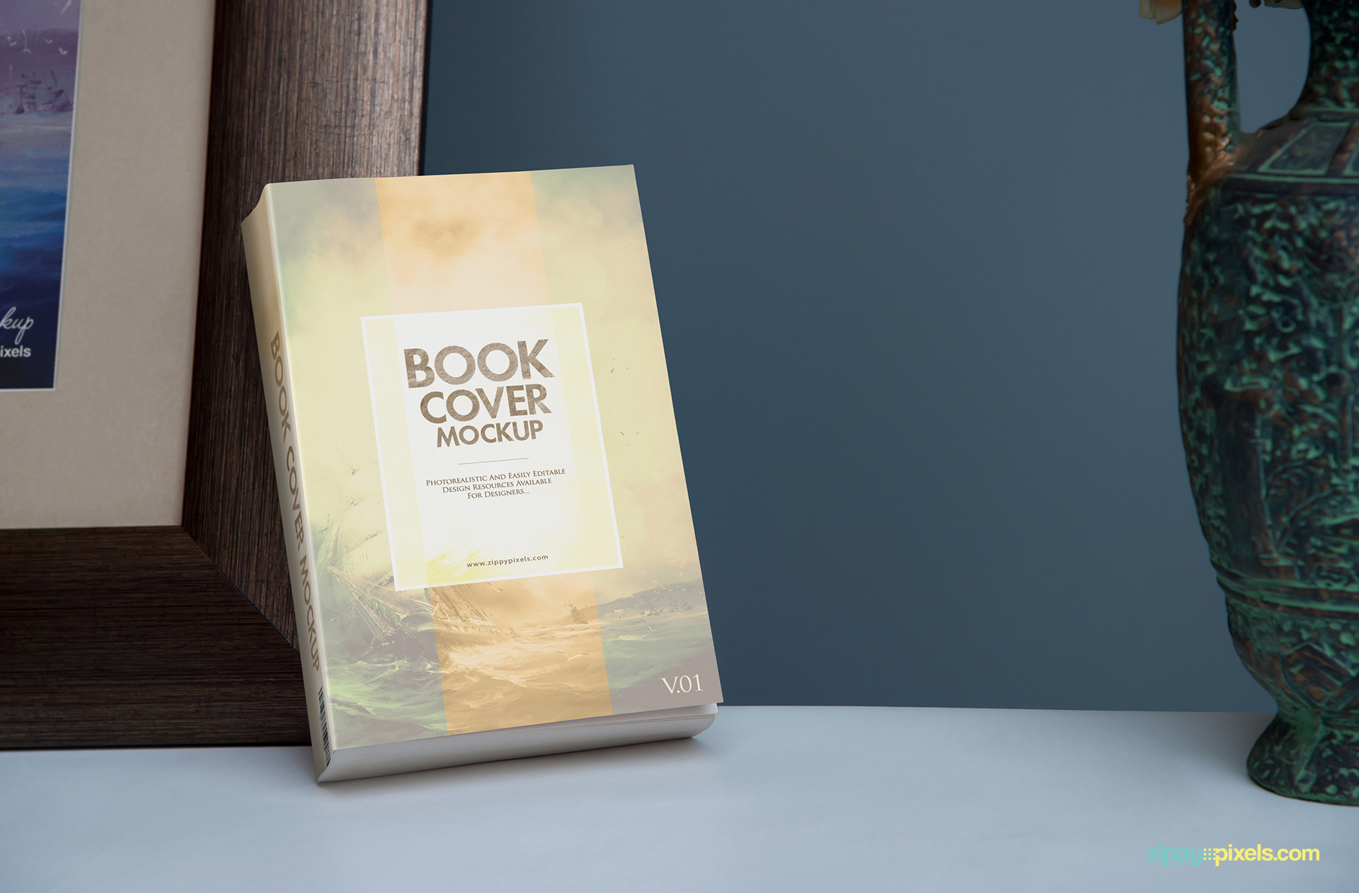 Softcover ebook mockup - Standing book in closeup shot