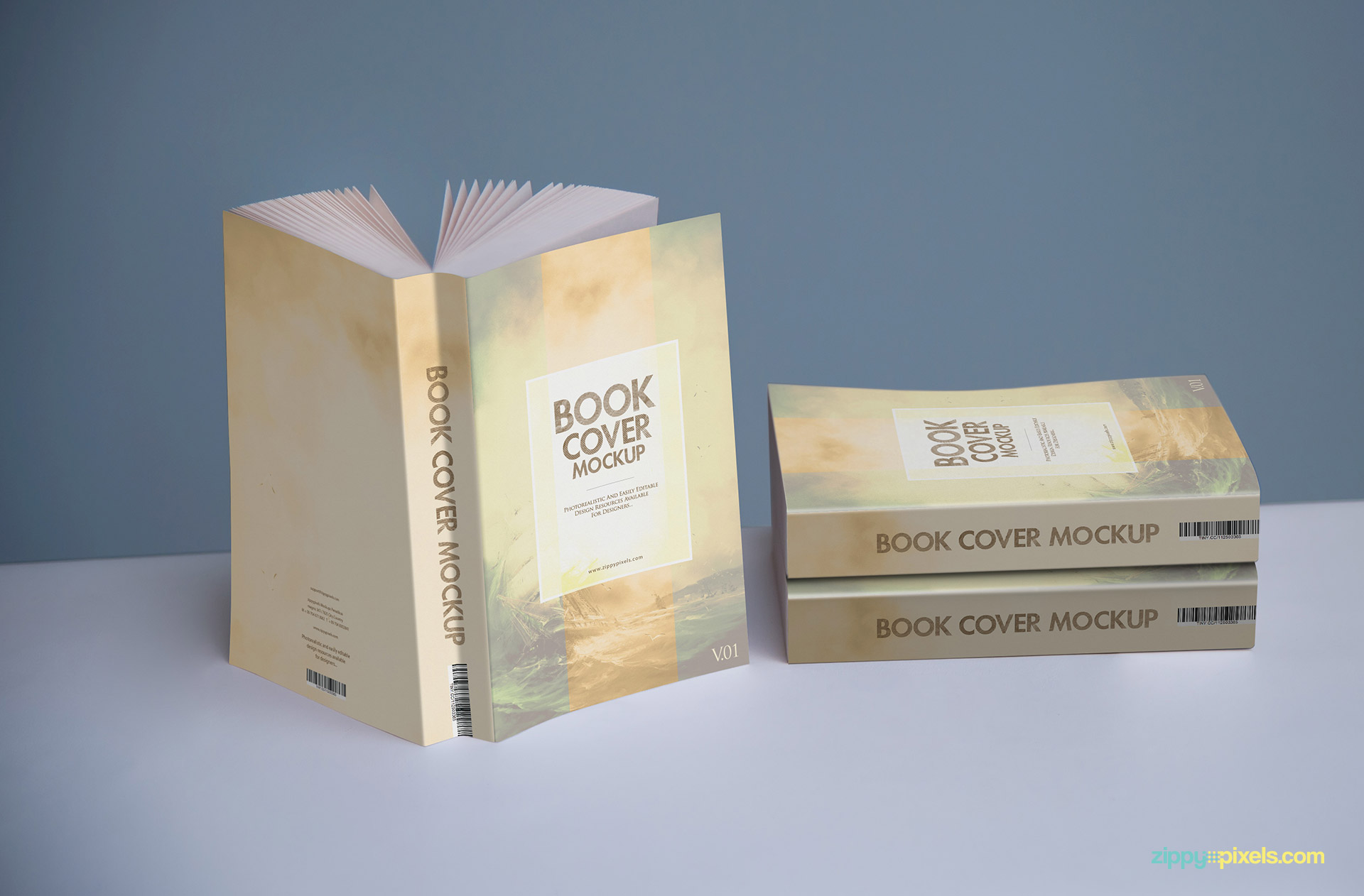Realistic book cover mockup showing cover designs on three paperback novels