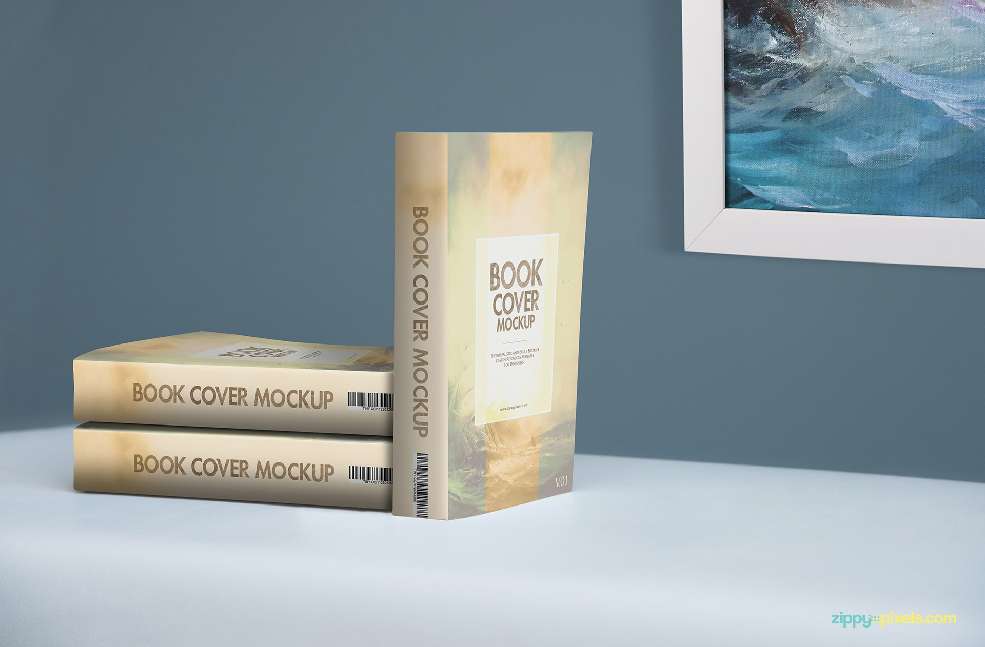 Paperback book PSD mockup for showcasing softcover designs in lying down & stand up position