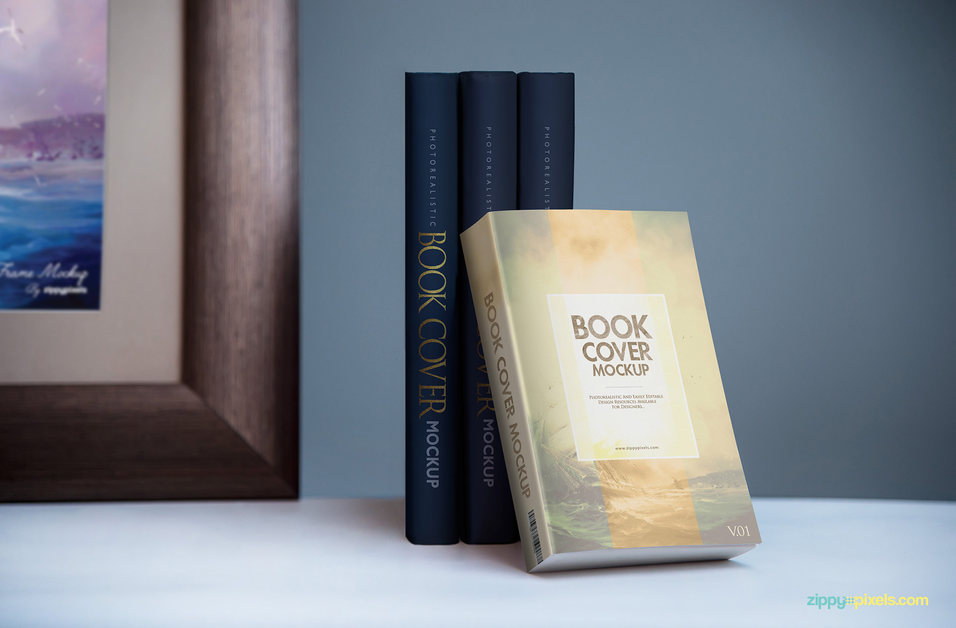 Softcover book cover mockup with hardcover books