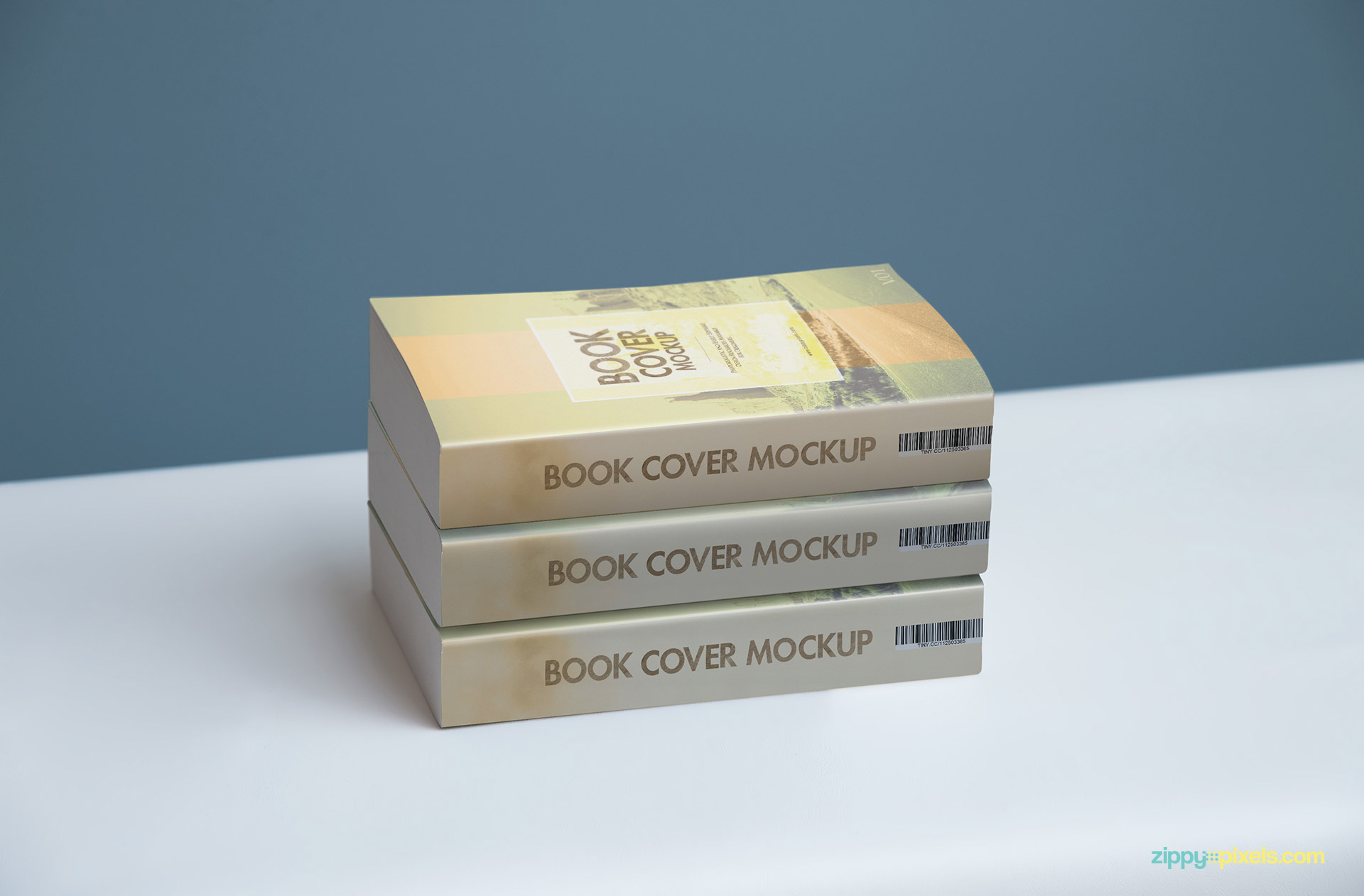 Softcover book mockup showing a stack of 3 books for cover designs